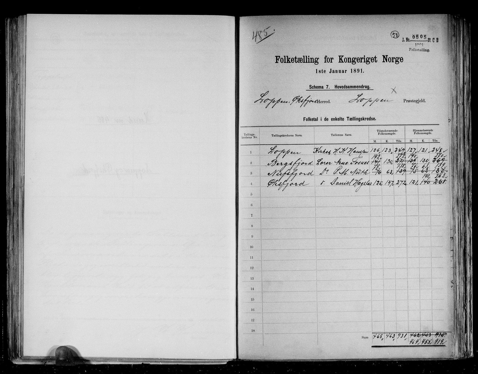RA, Folketelling 1891 for 2014 Loppa herred, 1891, s. 2