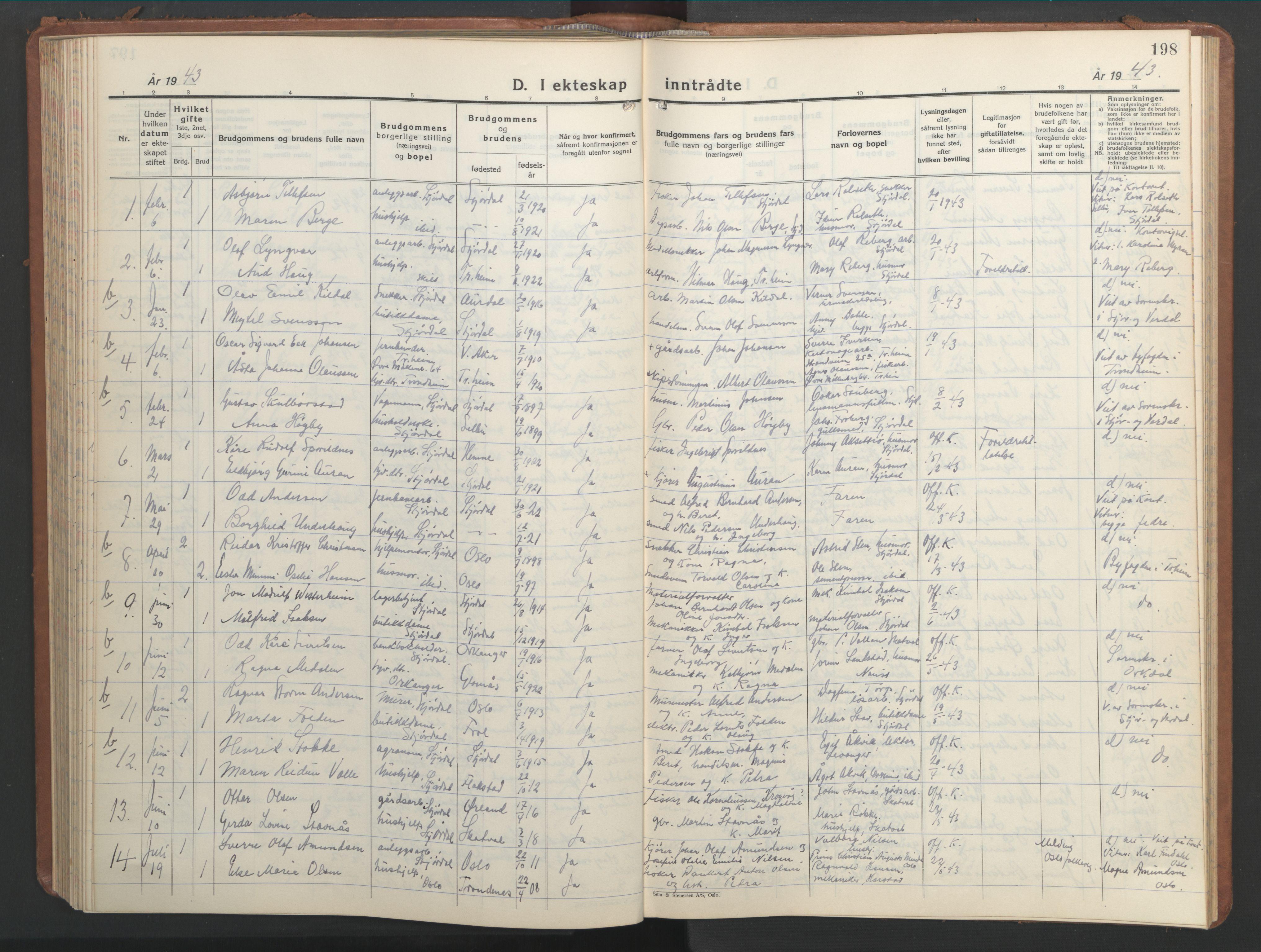 SAT, Ministerialprotokoller, klokkerbøker og fødselsregistre - Nord-Trøndelag, 709/L0089: Klokkerbok nr. 709C03, 1935-1948, s. 198