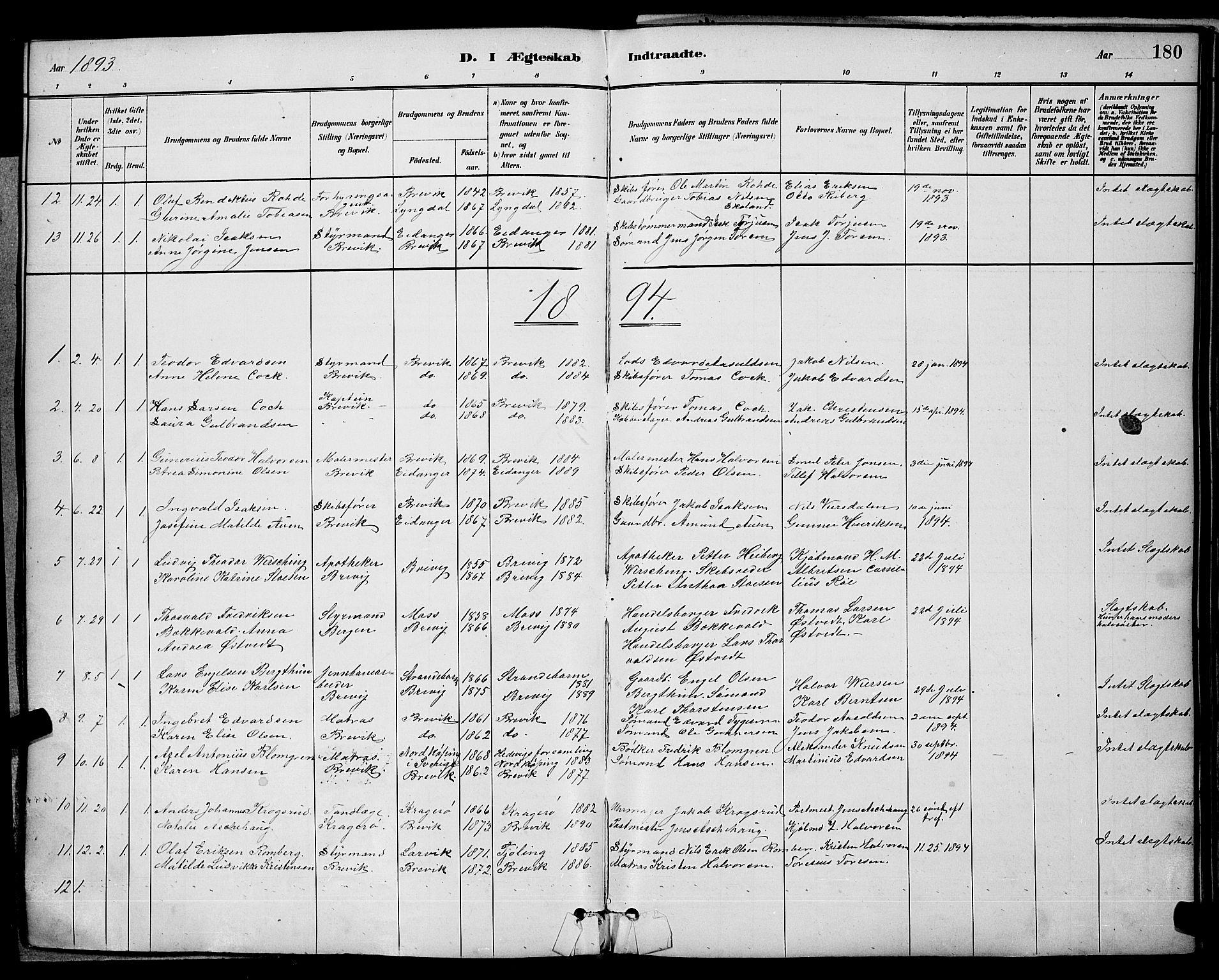 SAKO, Brevik kirkebøker, G/Ga/L0004: Klokkerbok nr. 4, 1882-1900, s. 180