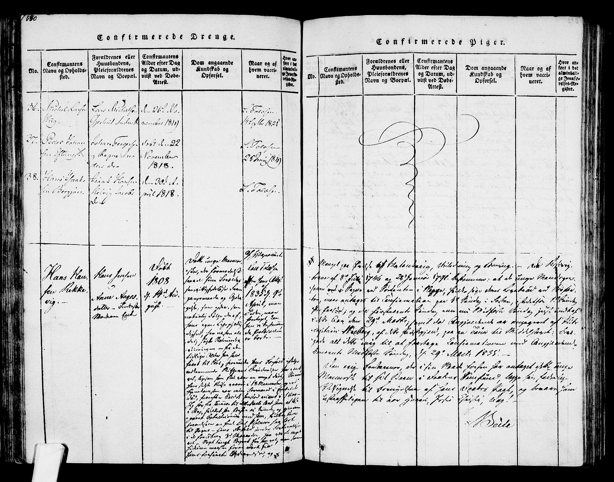 SAKO, Tjølling kirkebøker, F/Fa/L0005: Ministerialbok nr. 5, 1814-1836, s. 550-551