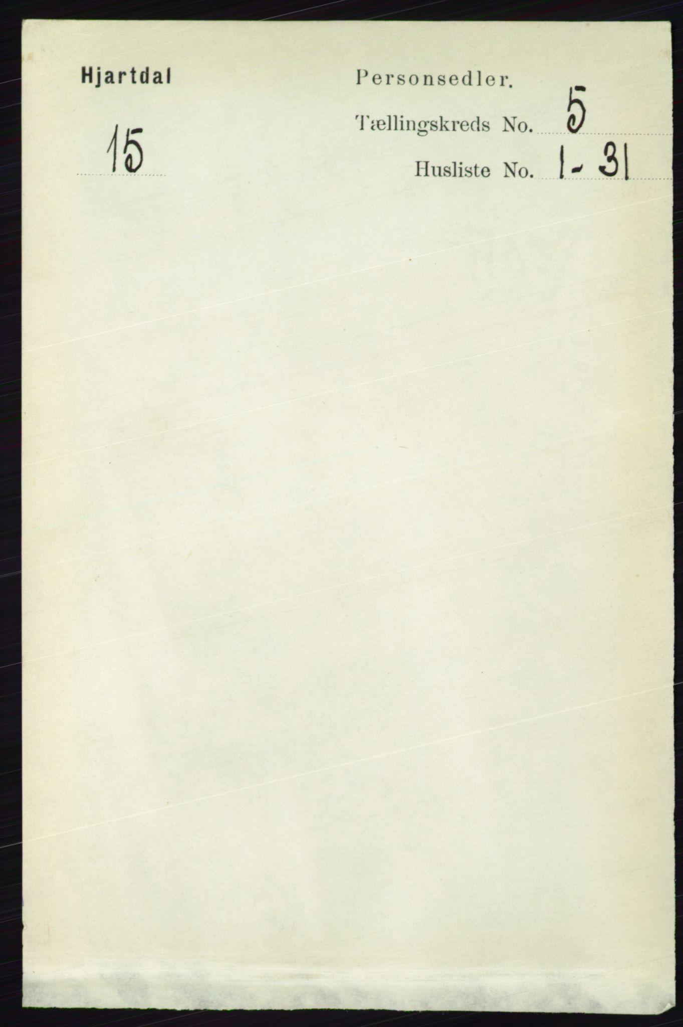 RA, Folketelling 1891 for 0827 Hjartdal herred, 1891, s. 1809