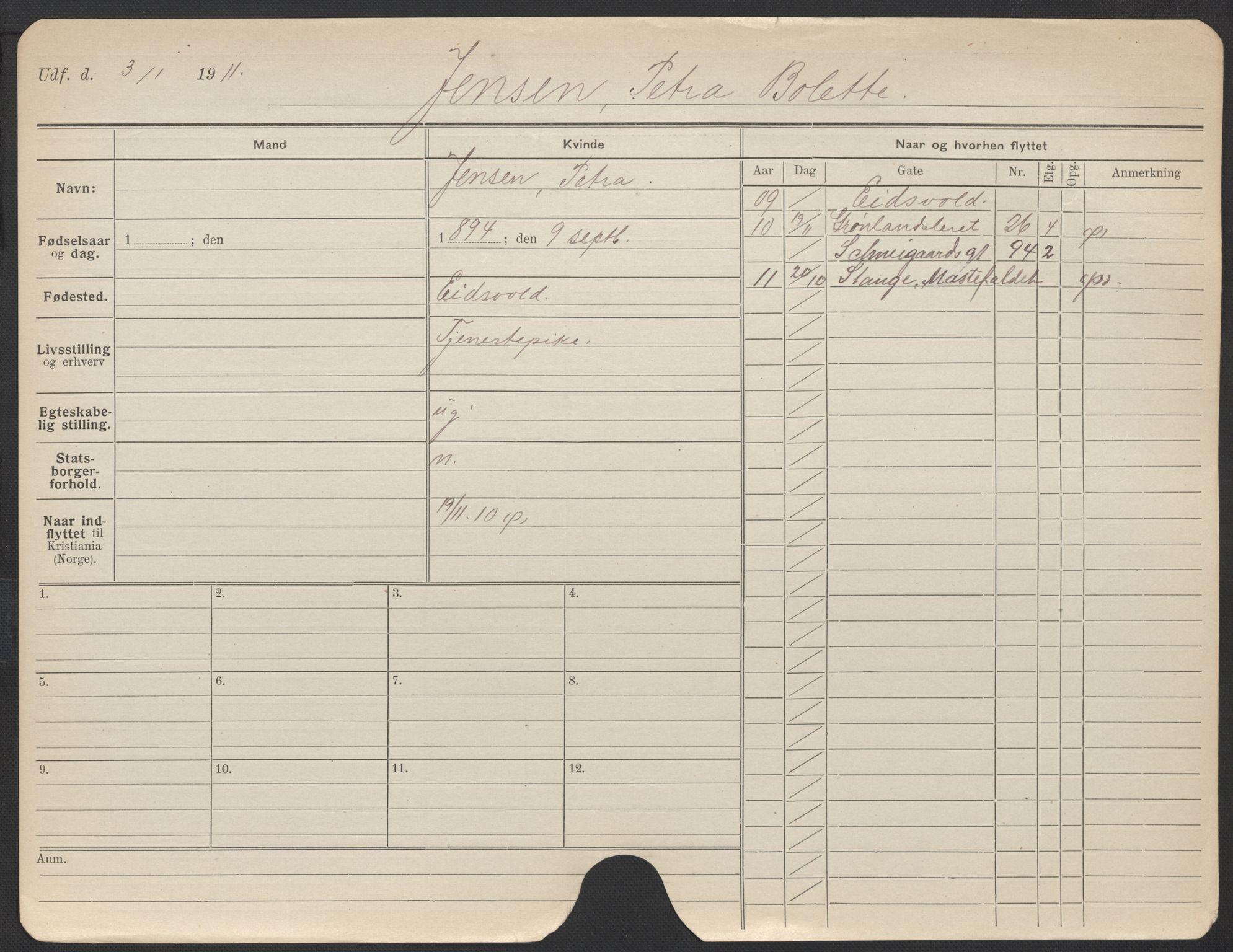 SAO, Oslo folkeregister, Registerkort, F/Fa/Fac/L0017: Kvinner, 1906-1914, s. 526a