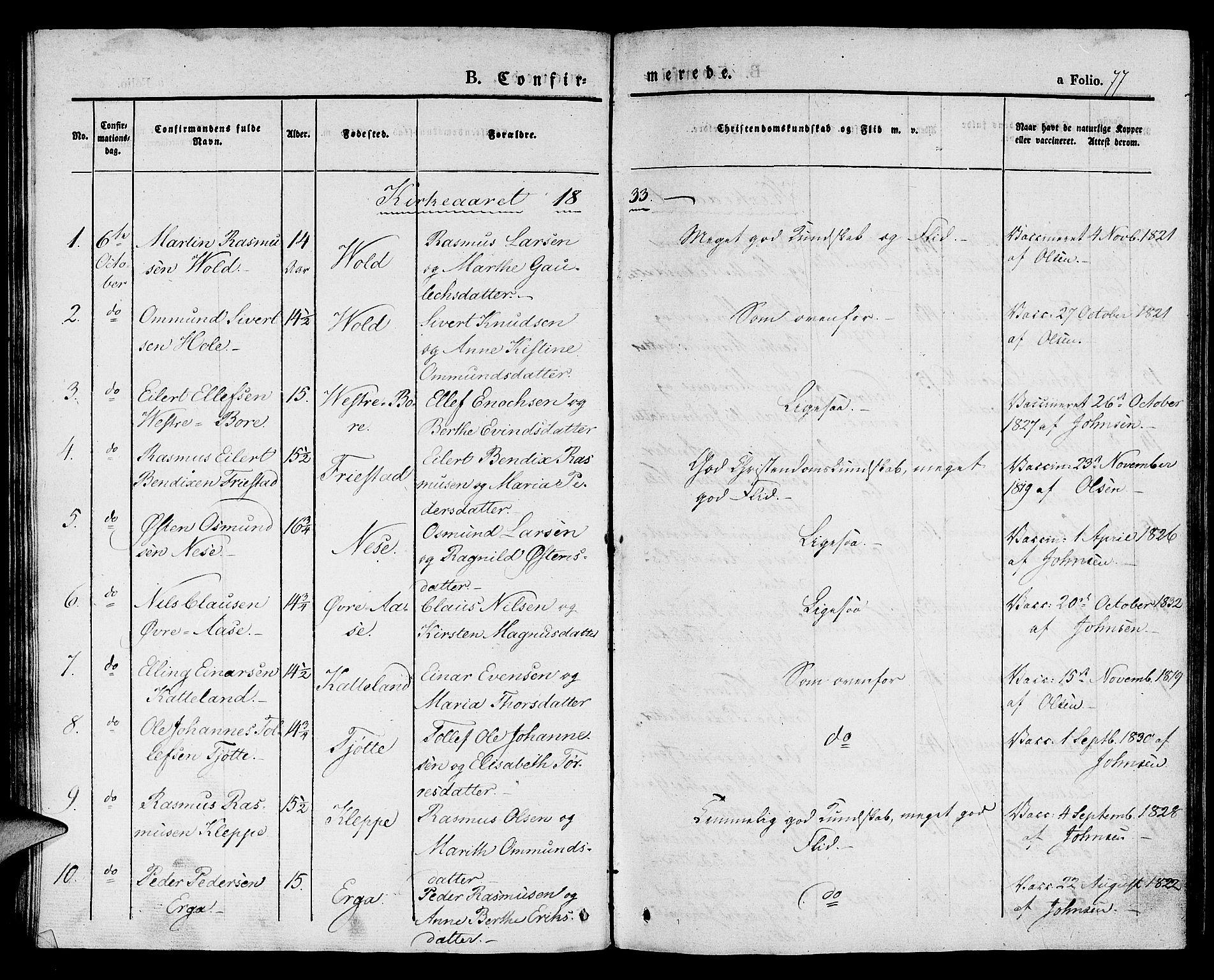 SAST, Klepp sokneprestkontor, 30BA/L0003: Ministerialbok nr. A 3, 1833-1842, s. 77