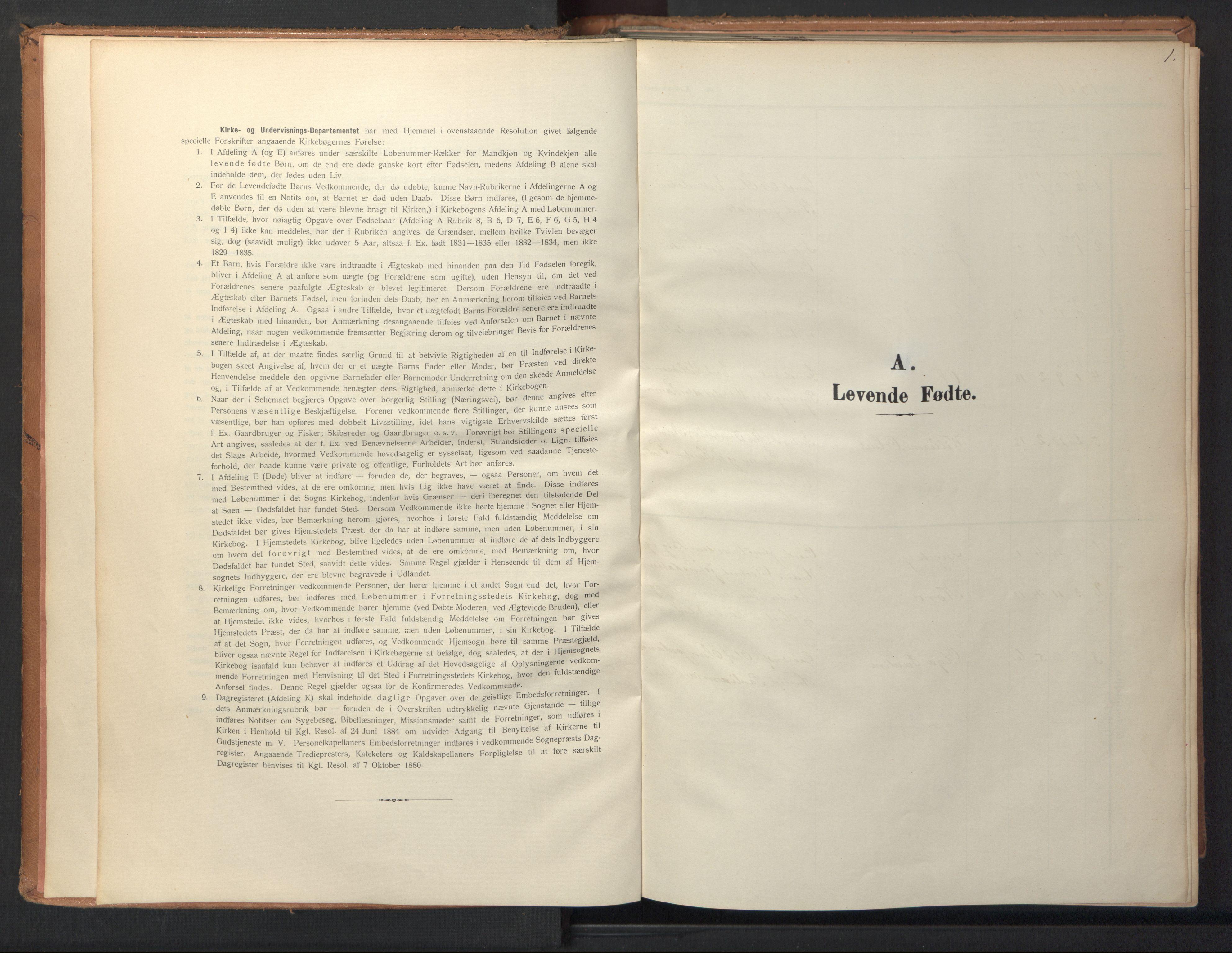 SAT, Ministerialprotokoller, klokkerbøker og fødselsregistre - Sør-Trøndelag, 694/L1128: Ministerialbok nr. 694A02, 1906-1931, s. 1