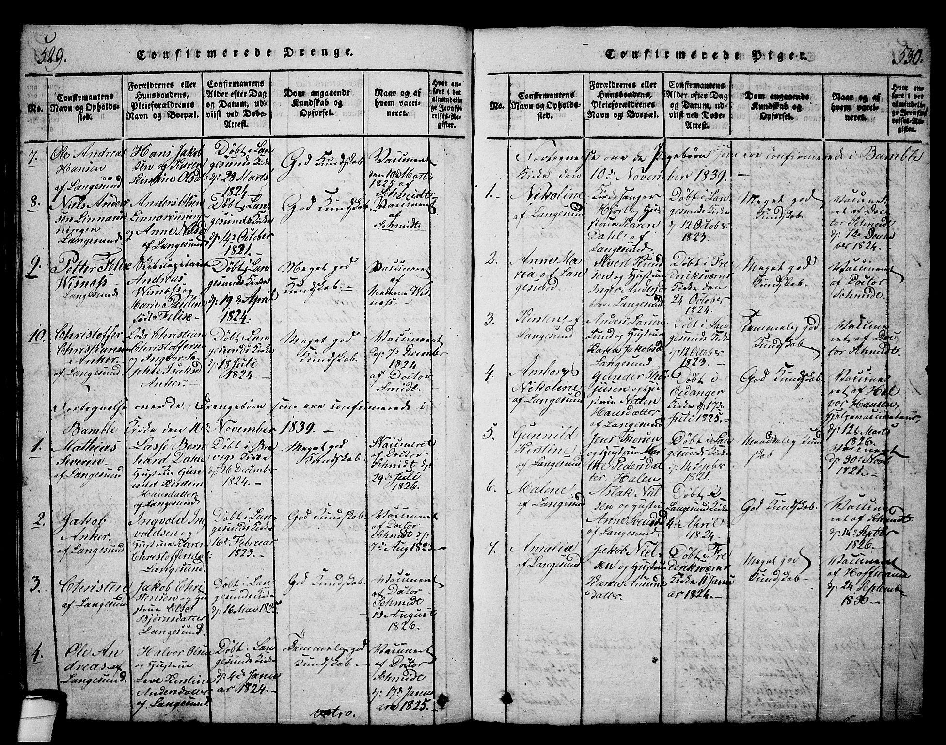 SAKO, Langesund kirkebøker, G/Ga/L0003: Klokkerbok nr. 3, 1815-1858, s. 529-530