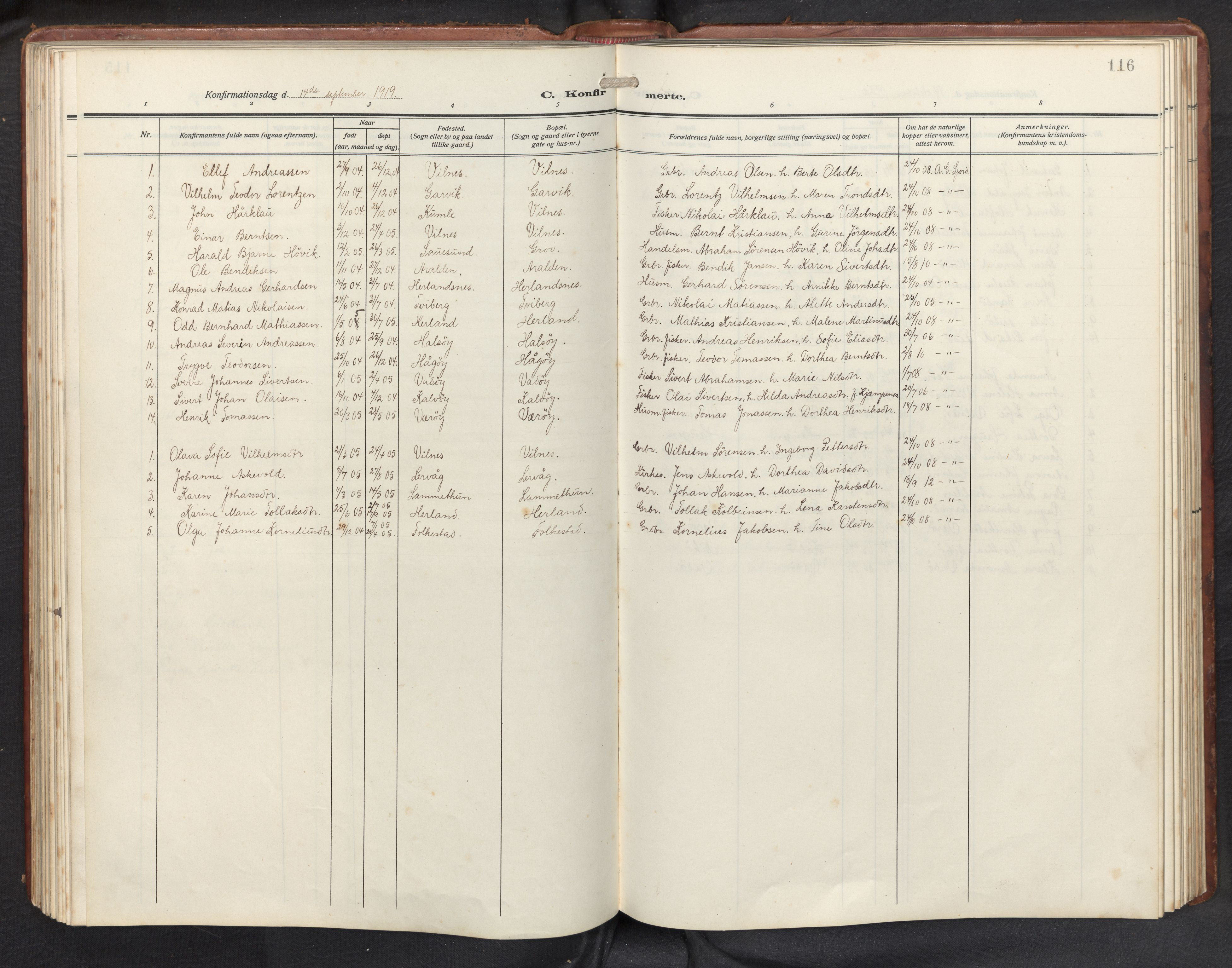 SAB, Askvoll sokneprestembete, H/Hab/Habb/L0002: Klokkerbok nr. B 2, 1910-1947, s. 115b-116a