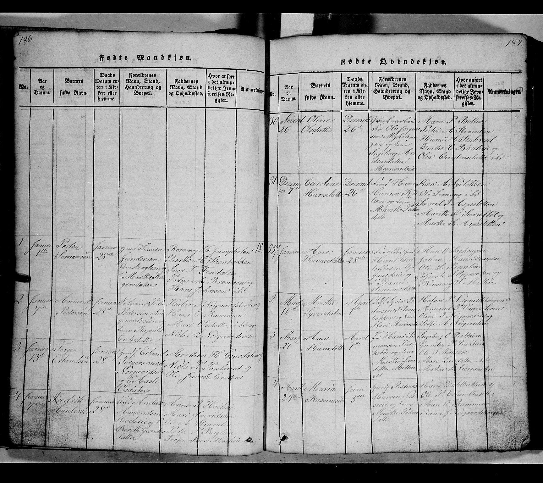 SAH, Gausdal prestekontor, Klokkerbok nr. 2, 1818-1874, s. 186-187