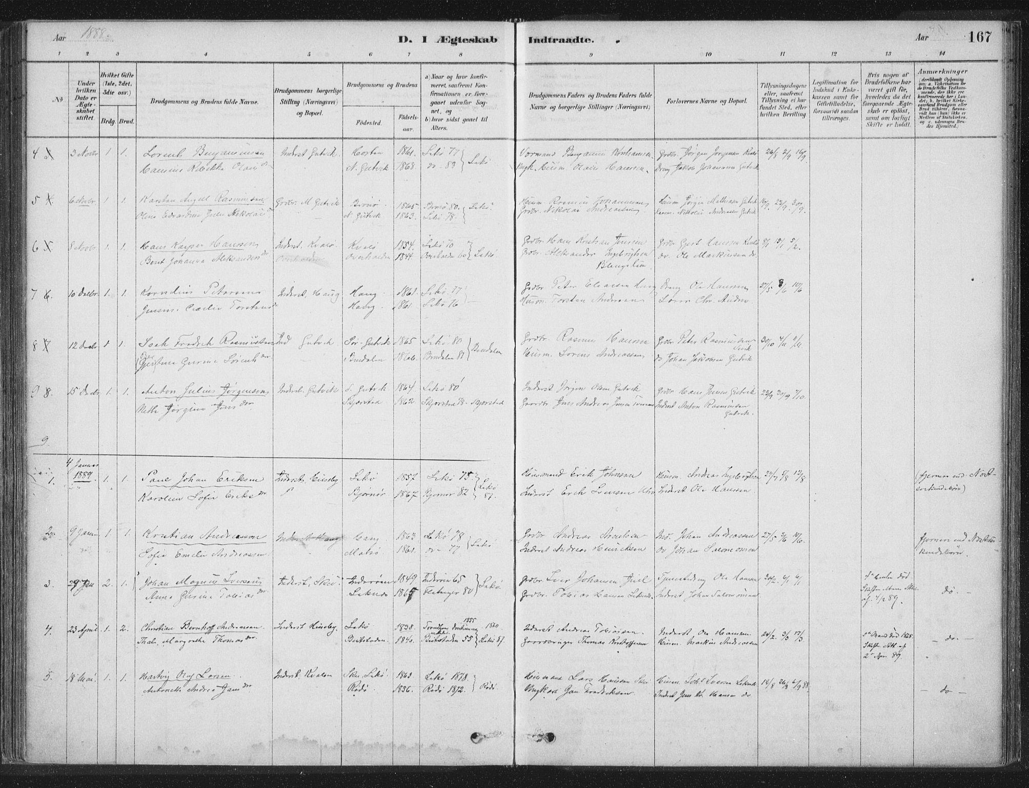 SAT, Ministerialprotokoller, klokkerbøker og fødselsregistre - Nord-Trøndelag, 788/L0697: Ministerialbok nr. 788A04, 1878-1902, s. 167