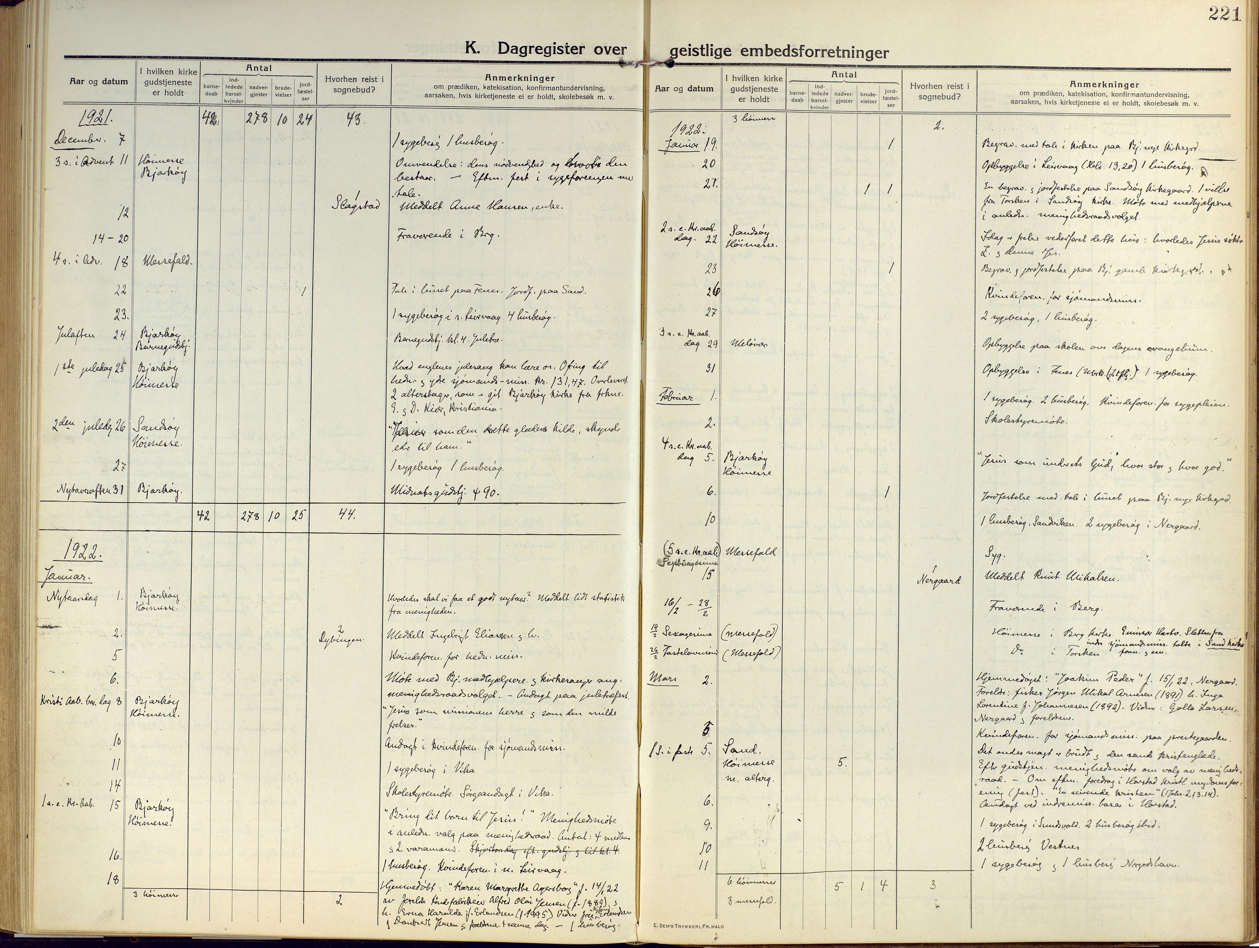 SATØ, Sand/Bjarkøy sokneprestkontor, I/Ia/Iaa/L0006kirke: Ministerialbok nr. 6, 1915-1929, s. 221