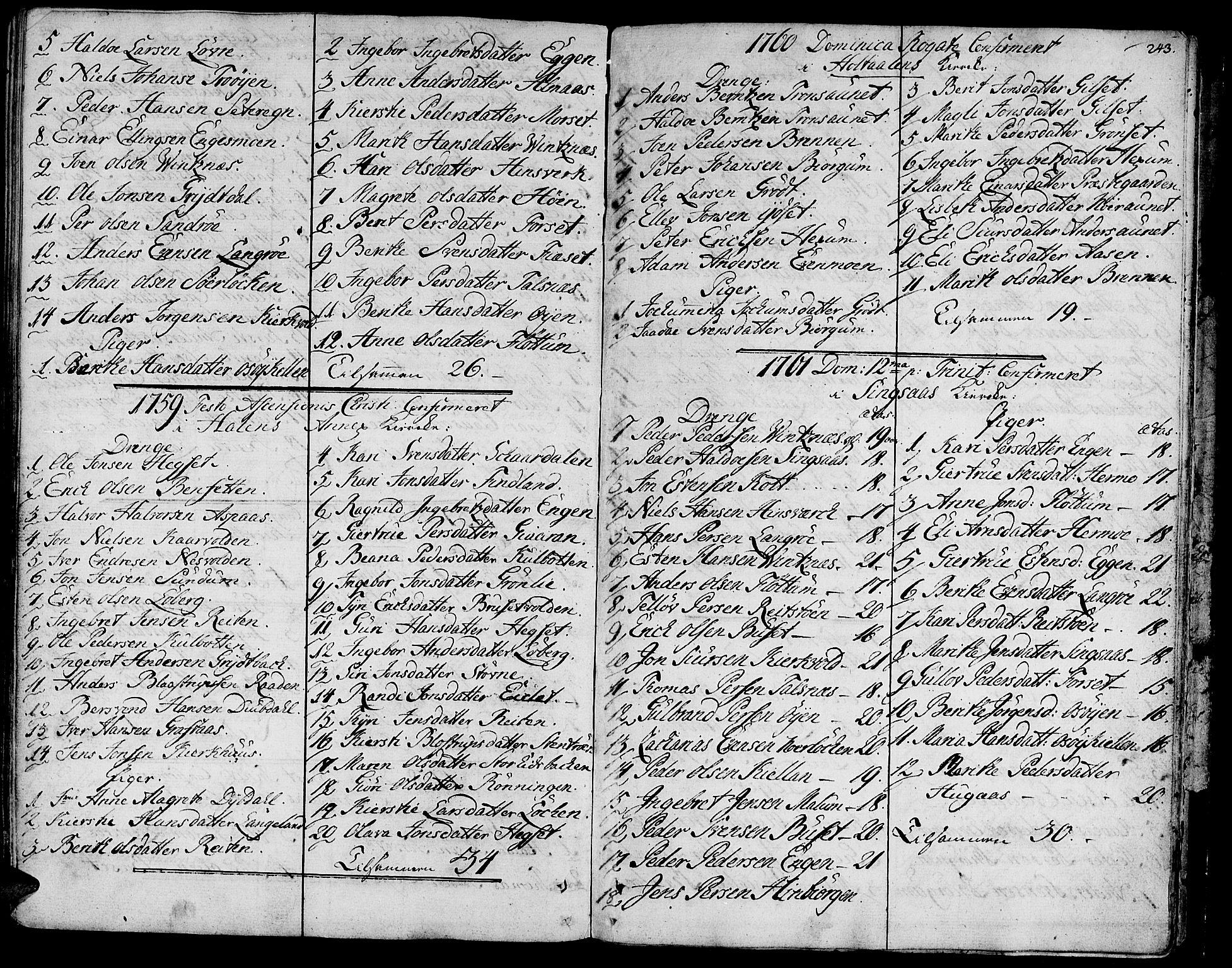 SAT, Ministerialprotokoller, klokkerbøker og fødselsregistre - Sør-Trøndelag, 685/L0952: Ministerialbok nr. 685A01, 1745-1804, s. 243