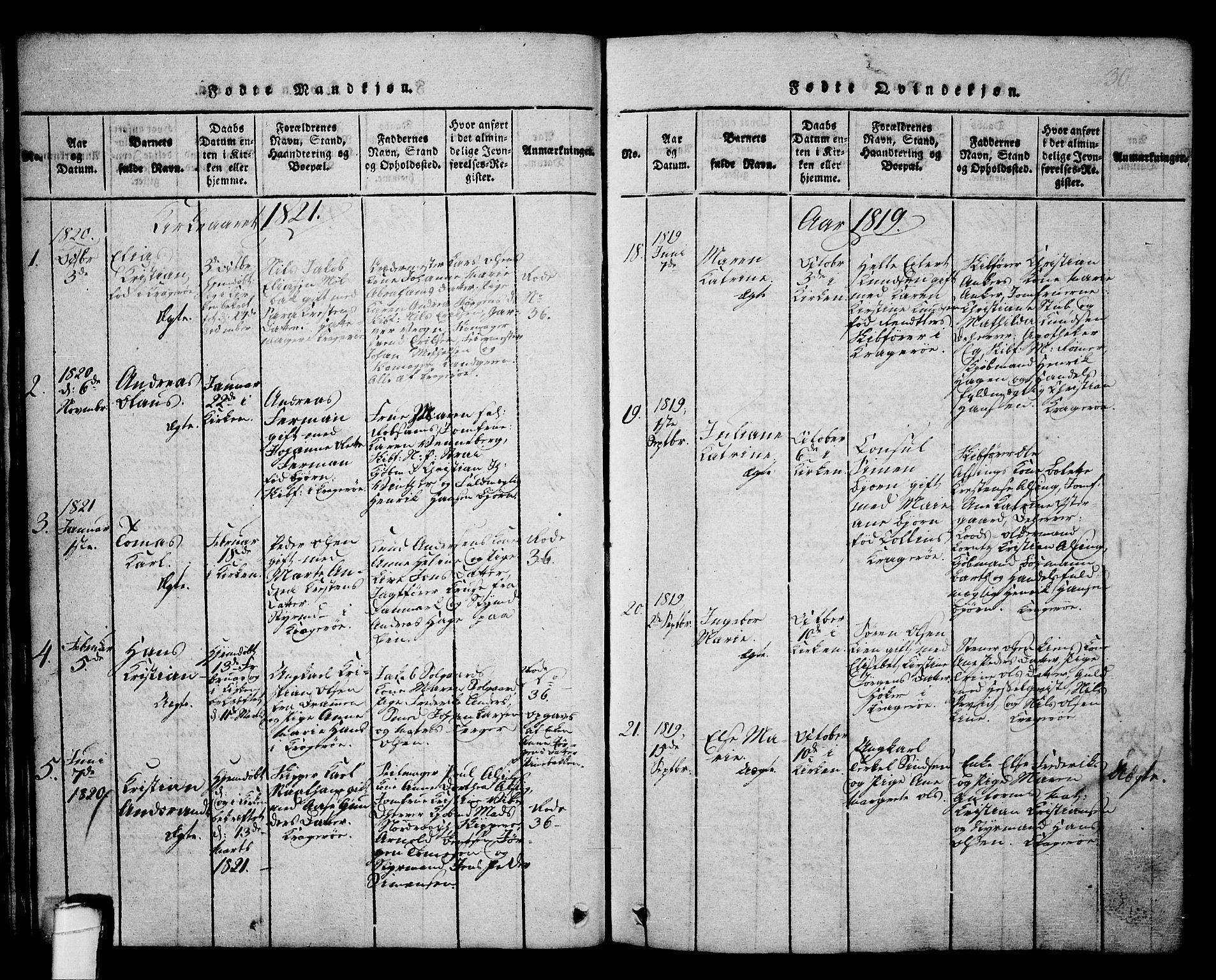 SAKO, Kragerø kirkebøker, G/Ga/L0002: Klokkerbok nr. 2, 1814-1831, s. 30