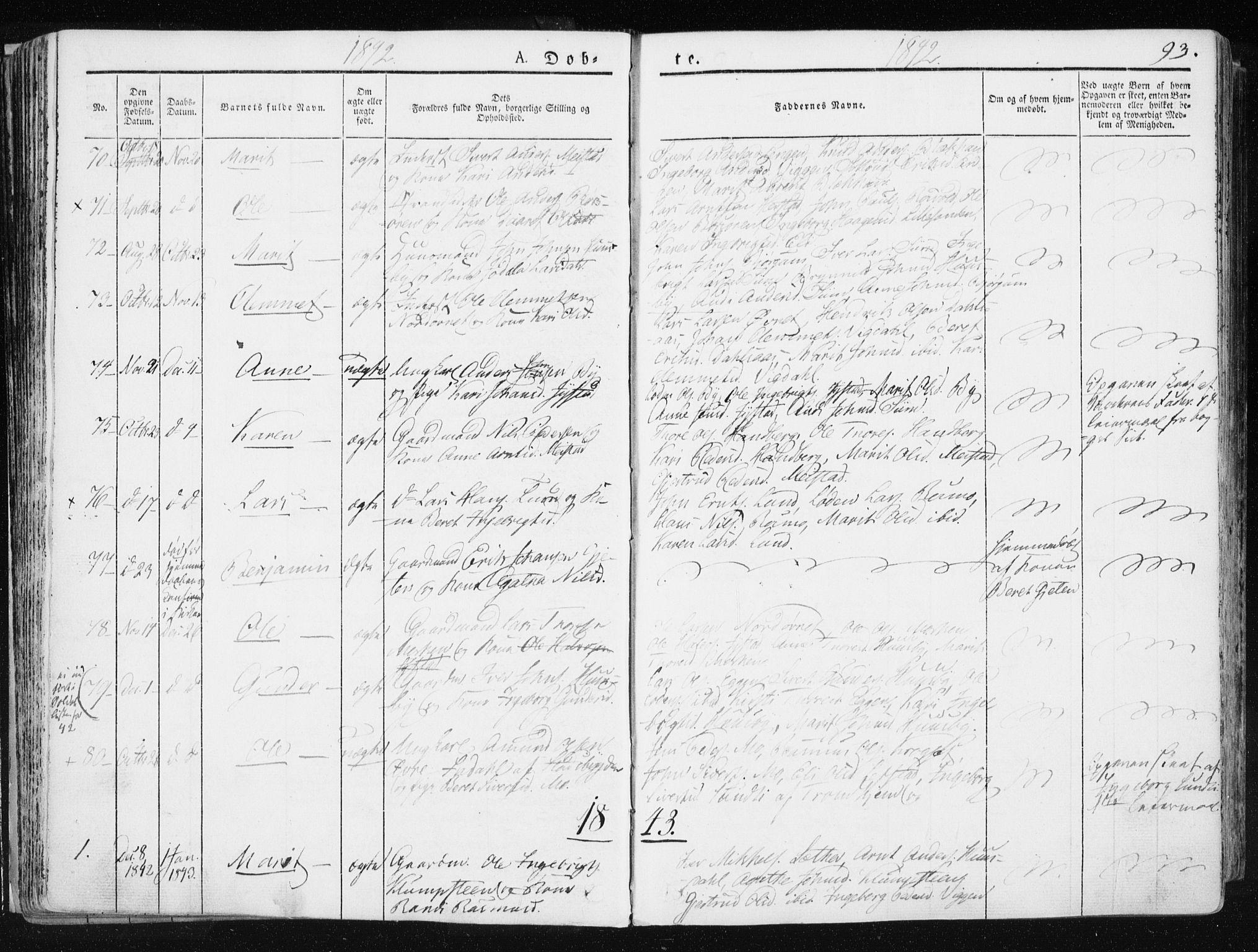 SAT, Ministerialprotokoller, klokkerbøker og fødselsregistre - Sør-Trøndelag, 665/L0771: Ministerialbok nr. 665A06, 1830-1856, s. 93
