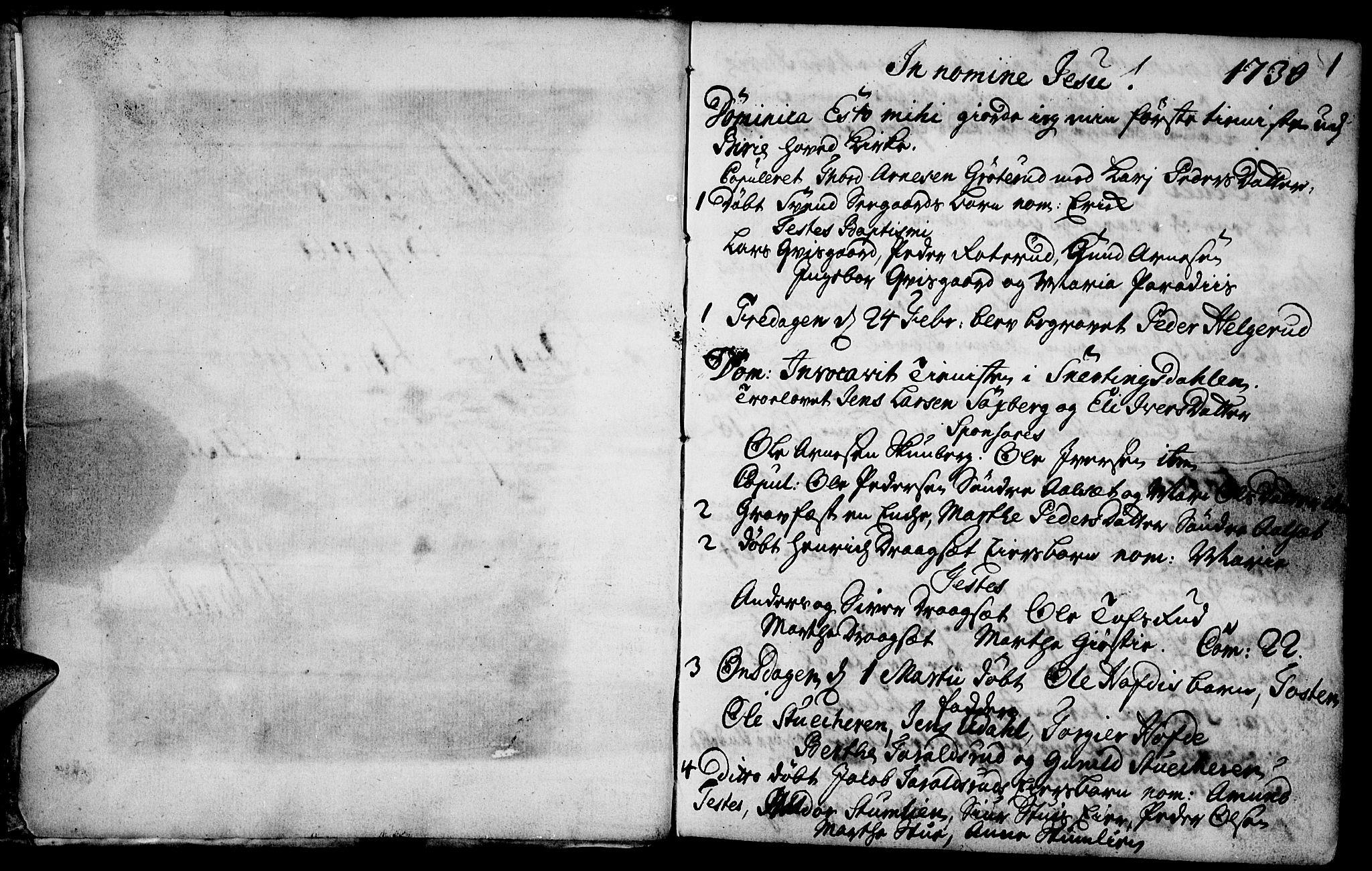 SAH, Biri prestekontor, Ministerialbok nr. 1, 1730-1754, s. 1