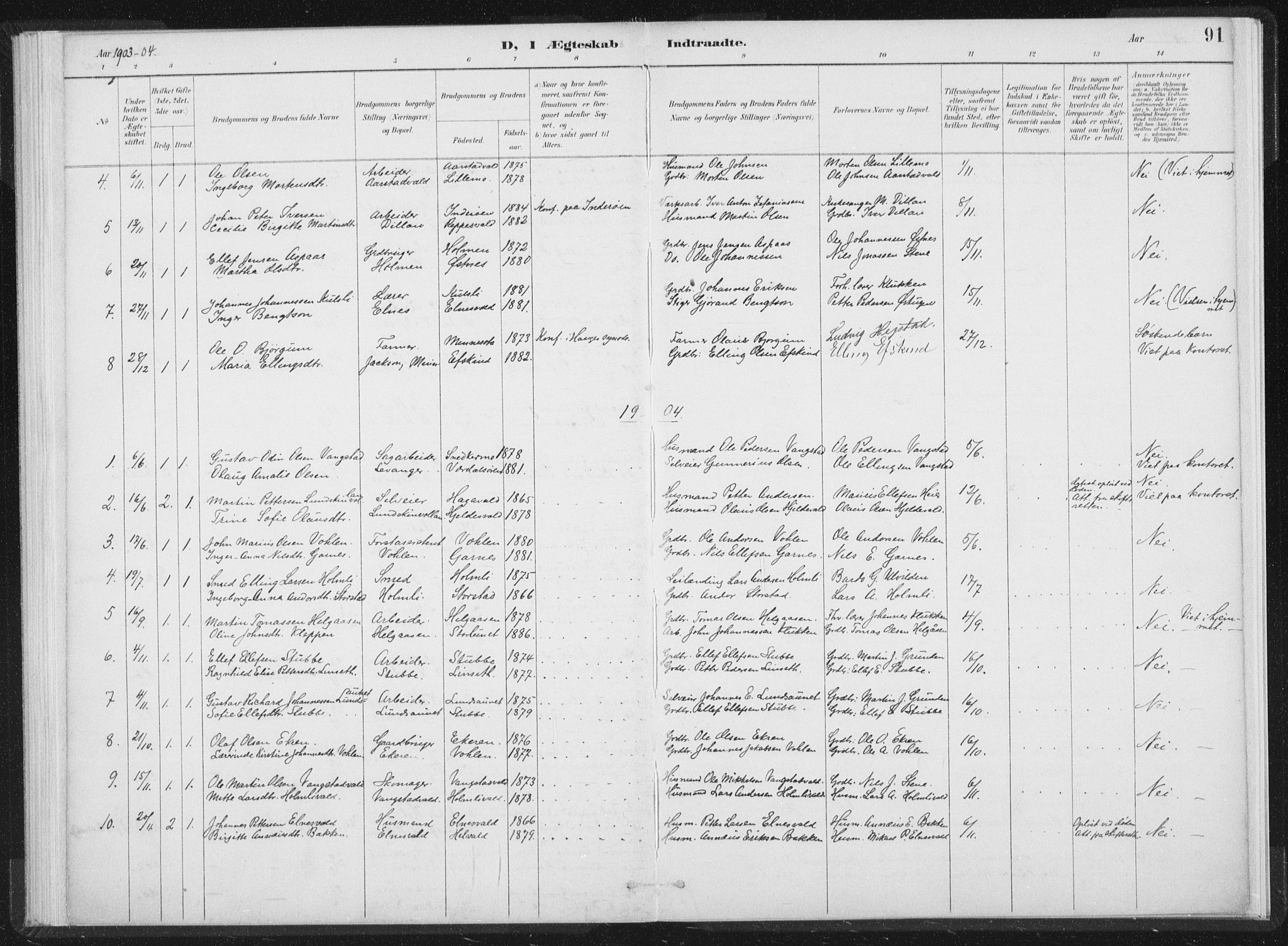 SAT, Ministerialprotokoller, klokkerbøker og fødselsregistre - Nord-Trøndelag, 724/L0263: Ministerialbok nr. 724A01, 1891-1907, s. 91