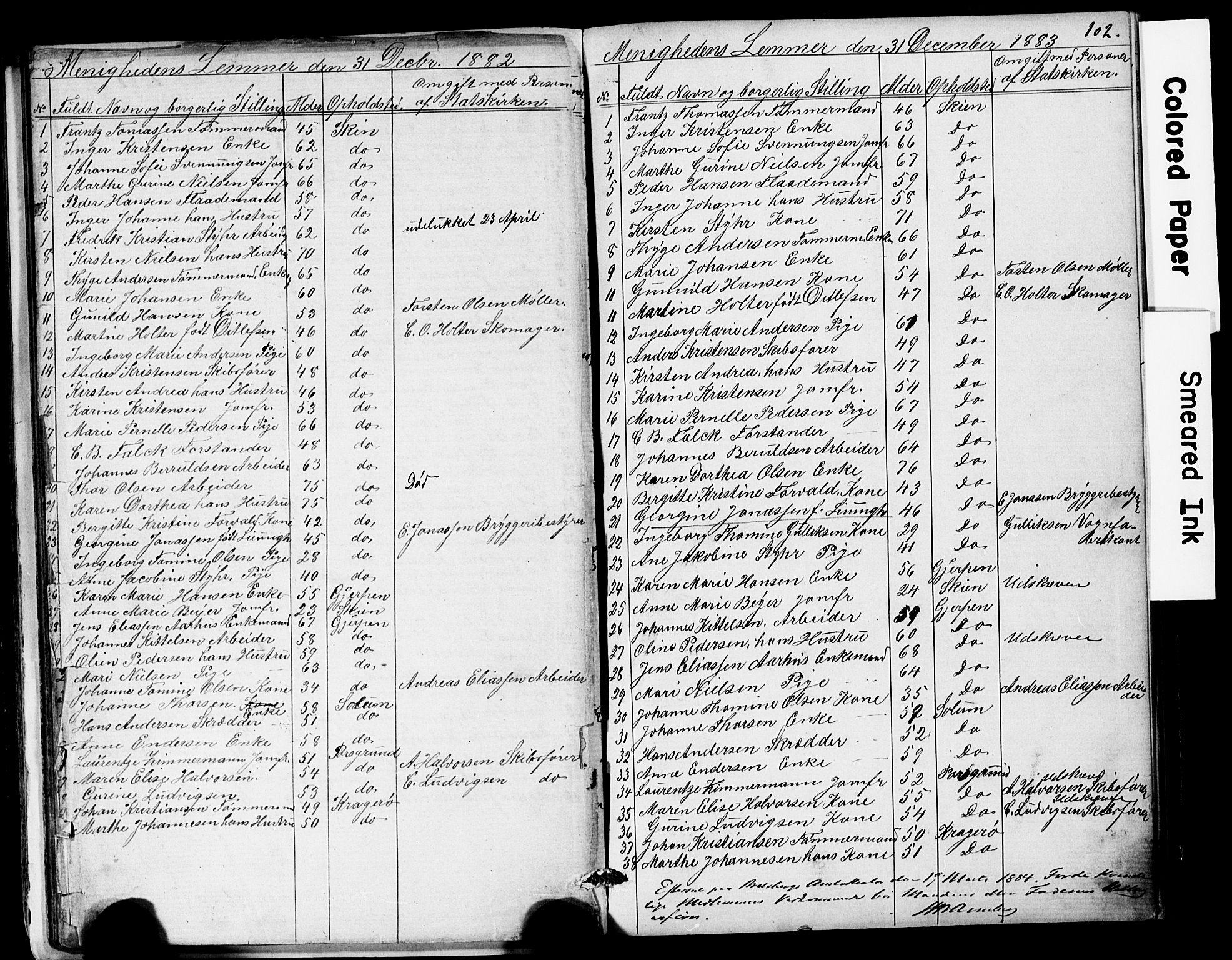 SAKO, Den frie apostolisk-kristelige menighet i Skien, F/Fa/L0001: Dissenterprotokoll nr. 1, 1856-1892, s. 102