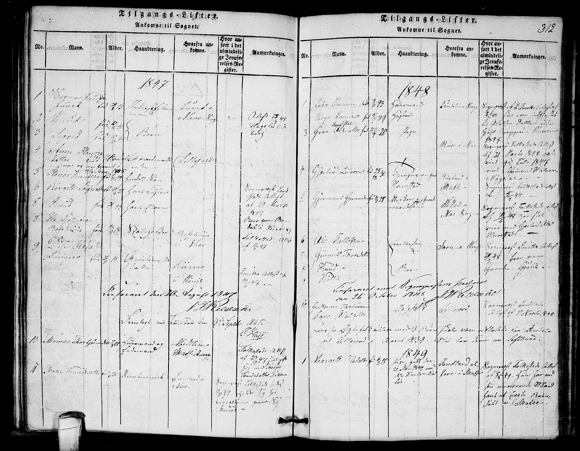 SAKO, Lårdal kirkebøker, G/Gb/L0001: Klokkerbok nr. II 1, 1815-1865, s. 312