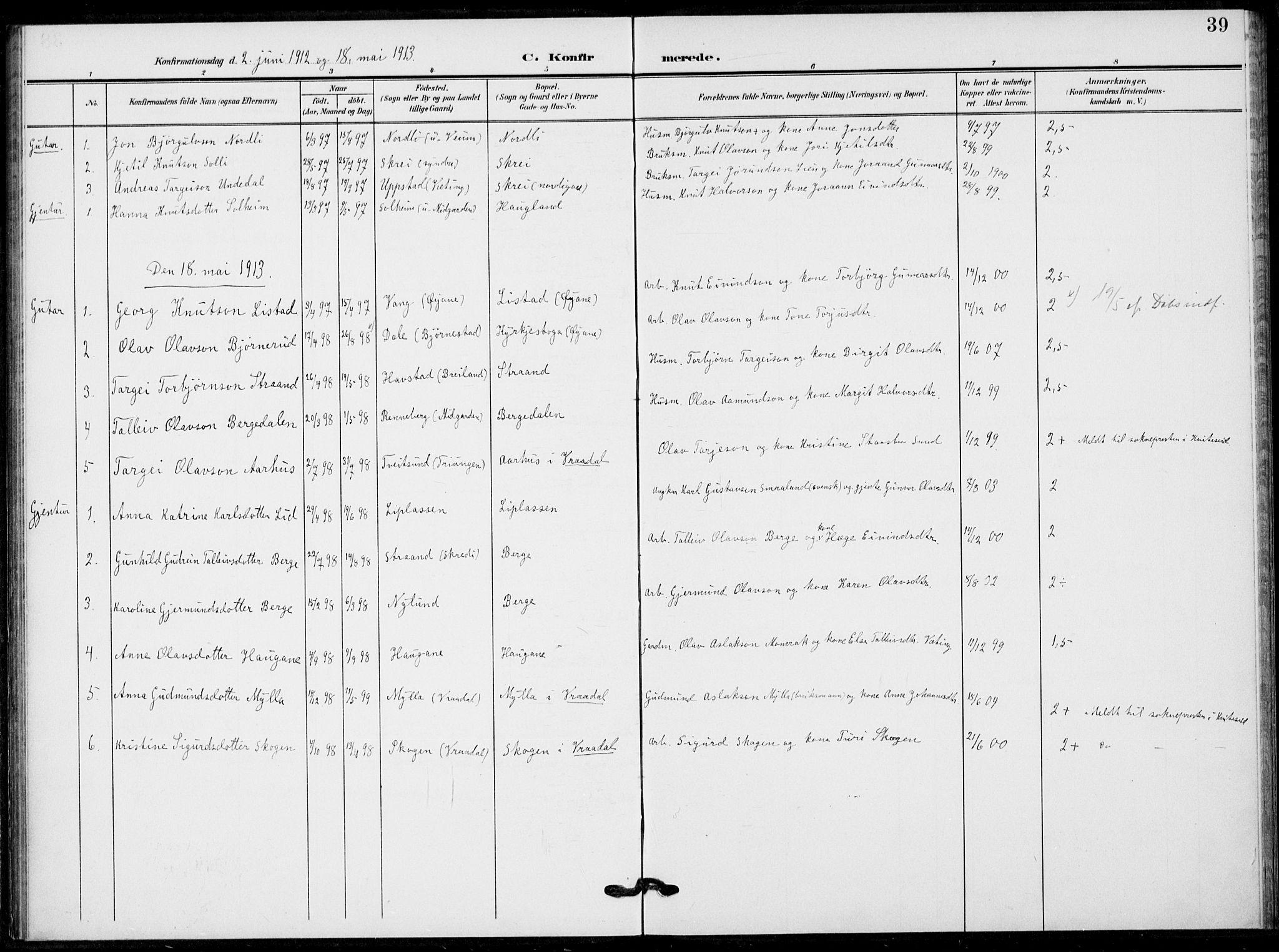 SAKO, Fyresdal kirkebøker, F/Fb/L0004: Ministerialbok nr. II 4, 1903-1920, s. 39