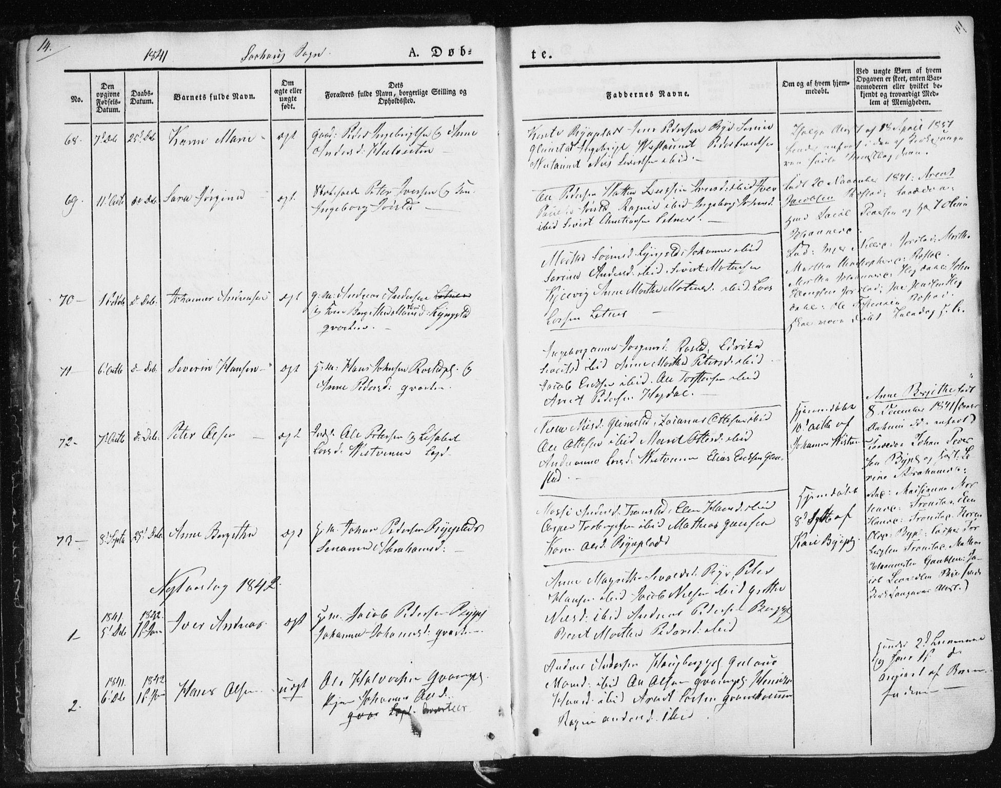 SAT, Ministerialprotokoller, klokkerbøker og fødselsregistre - Nord-Trøndelag, 730/L0280: Ministerialbok nr. 730A07 /1, 1840-1854, s. 14