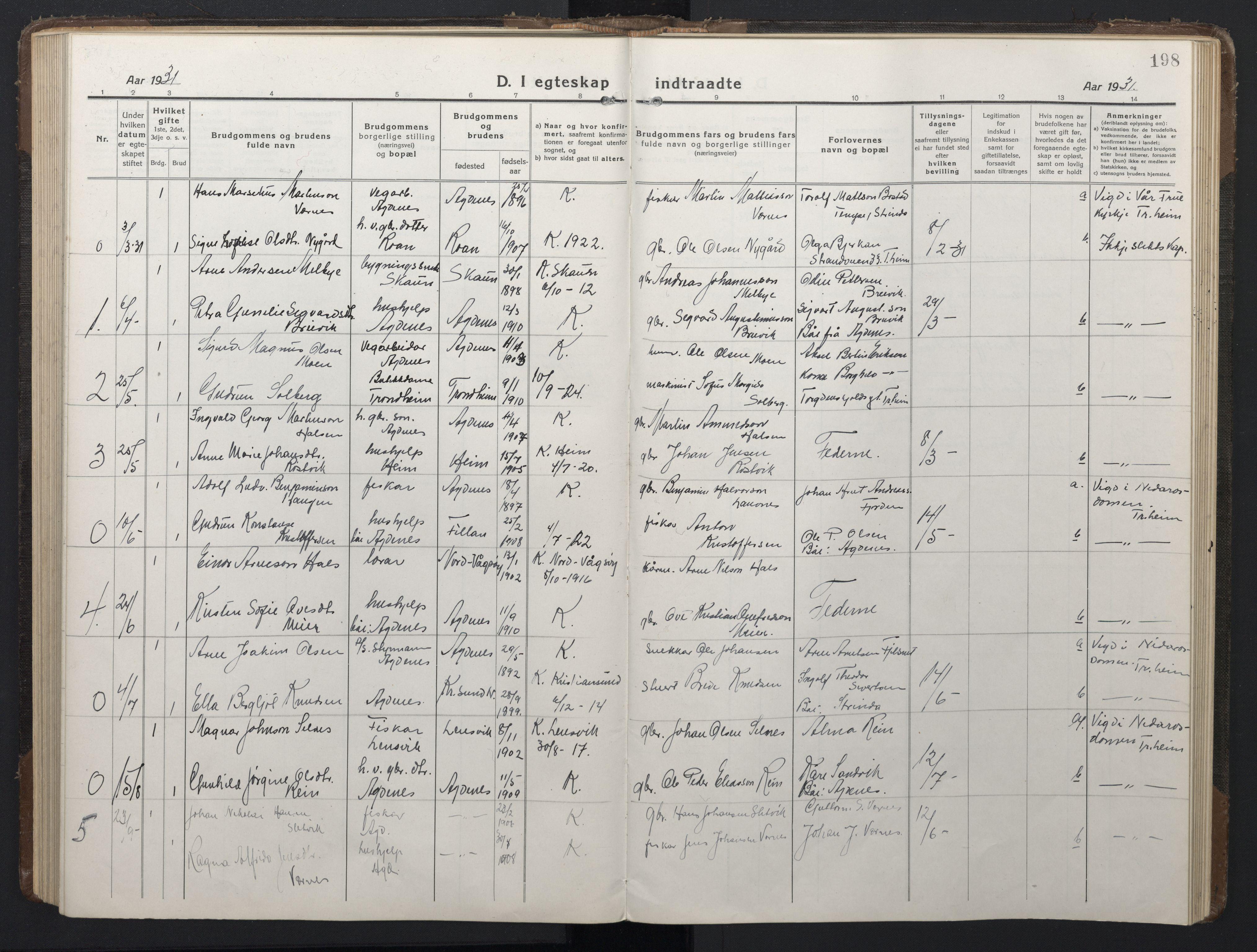 SAT, Ministerialprotokoller, klokkerbøker og fødselsregistre - Sør-Trøndelag, 662/L0758: Klokkerbok nr. 662C03, 1918-1948, s. 198
