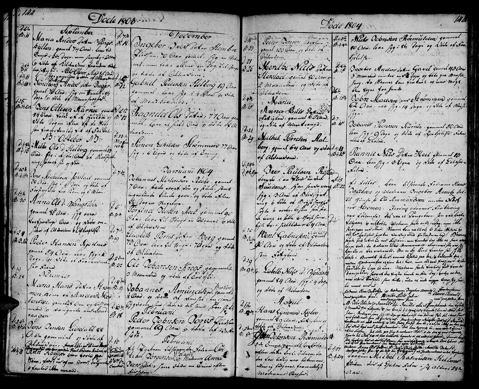 SAT, Ministerialprotokoller, klokkerbøker og fødselsregistre - Nord-Trøndelag, 730/L0274: Ministerialbok nr. 730A03, 1802-1816, s. 144-145