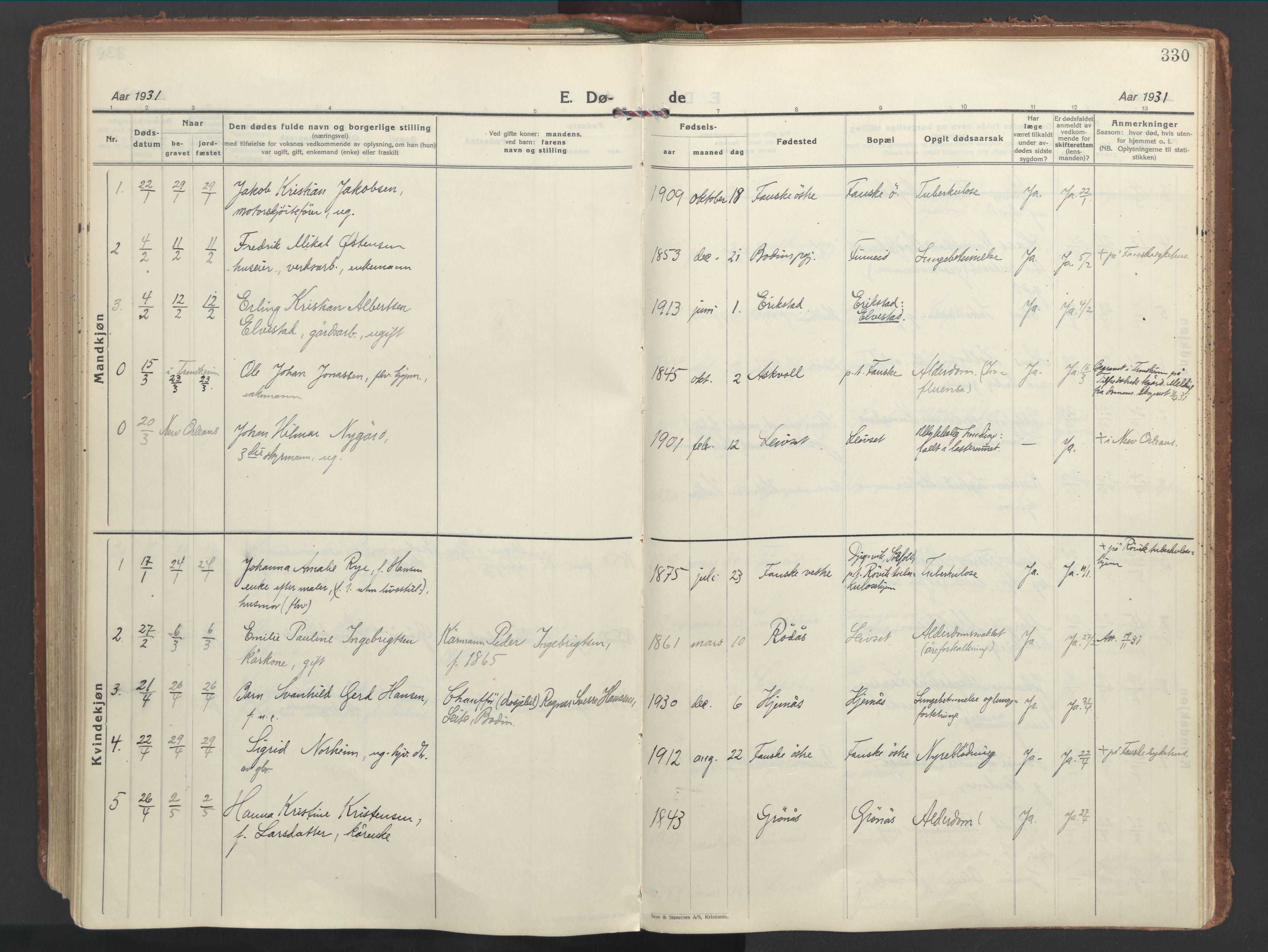 SAT, Ministerialprotokoller, klokkerbøker og fødselsregistre - Nordland, 849/L0699: Ministerialbok nr. 849A10, 1924-1937, s. 330