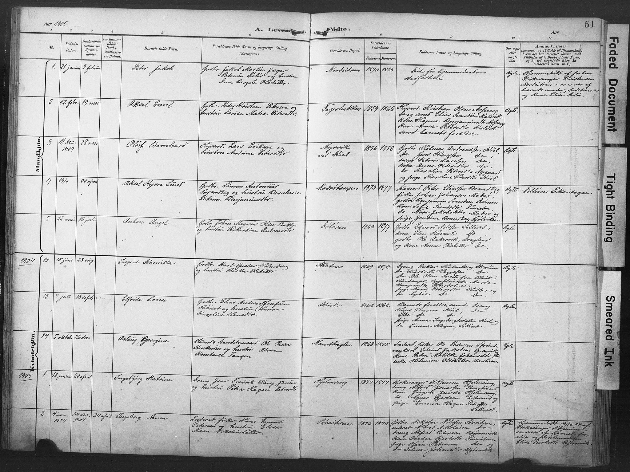 SAT, Ministerialprotokoller, klokkerbøker og fødselsregistre - Nord-Trøndelag, 789/L0706: Klokkerbok nr. 789C01, 1888-1931, s. 51