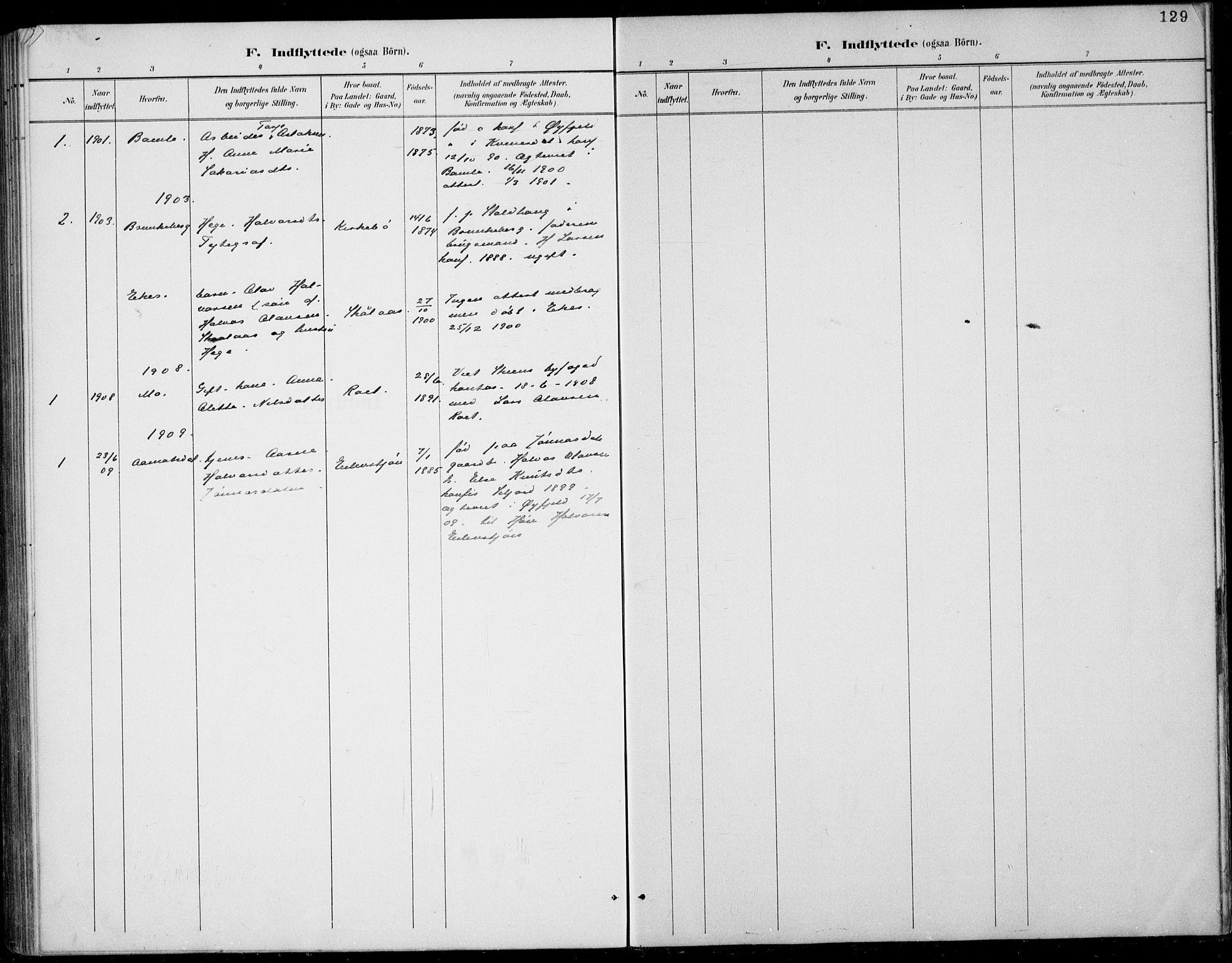 SAKO, Rauland kirkebøker, G/Gb/L0002: Klokkerbok nr. II 2, 1887-1937, s. 129