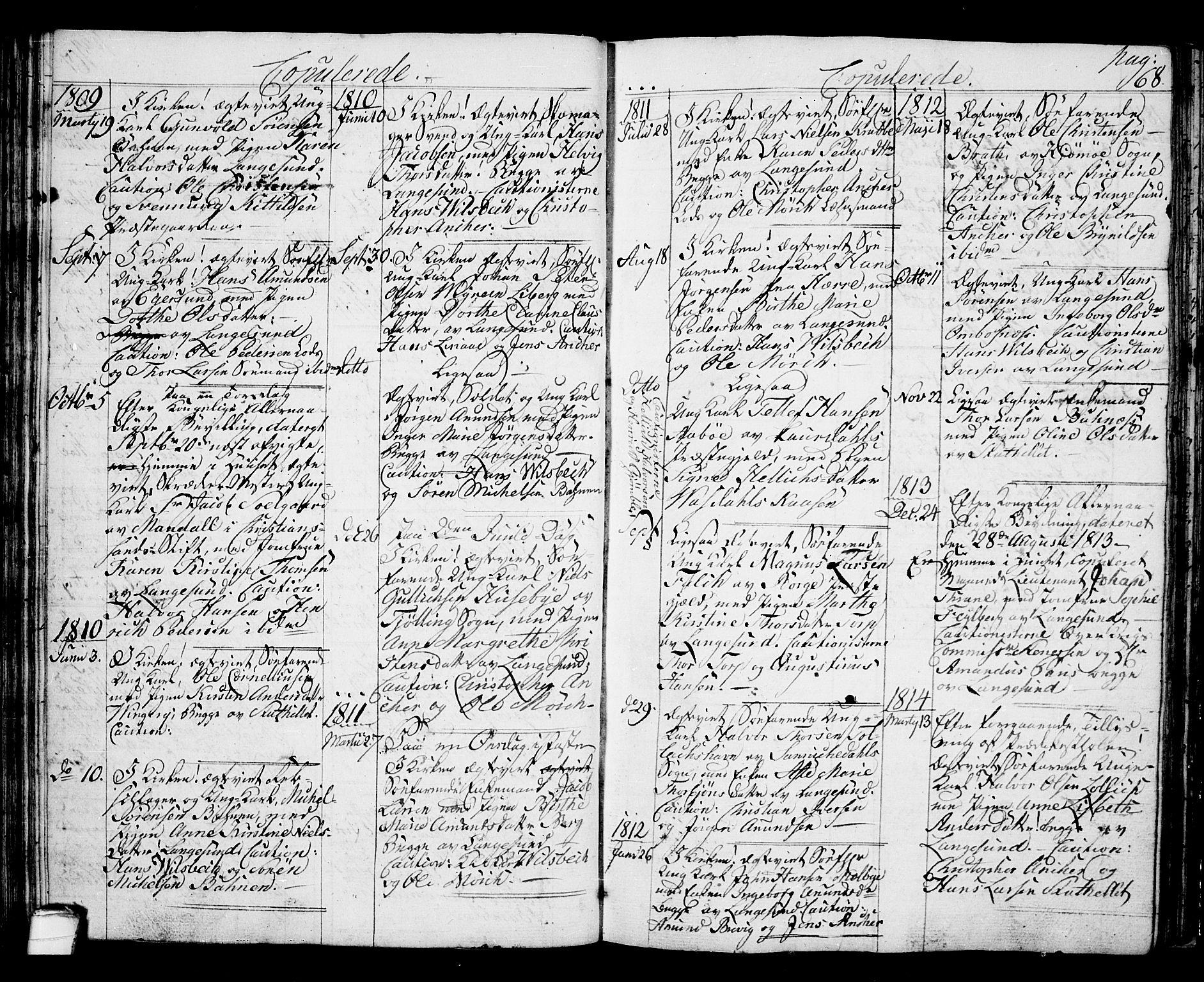SAKO, Langesund kirkebøker, G/Ga/L0002: Klokkerbok nr. 2, 1801-1815, s. 68