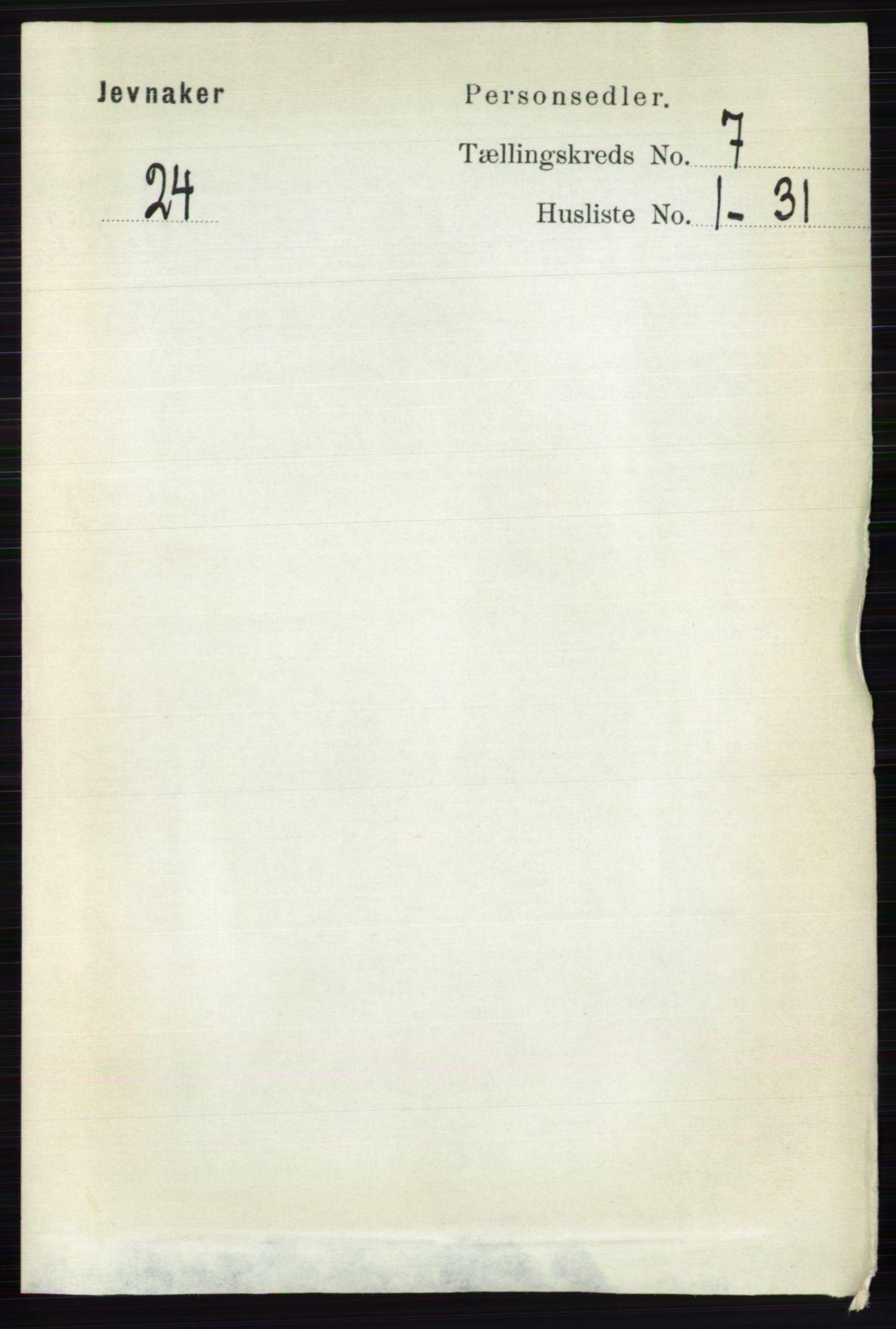 RA, Folketelling 1891 for 0532 Jevnaker herred, 1891, s. 3734