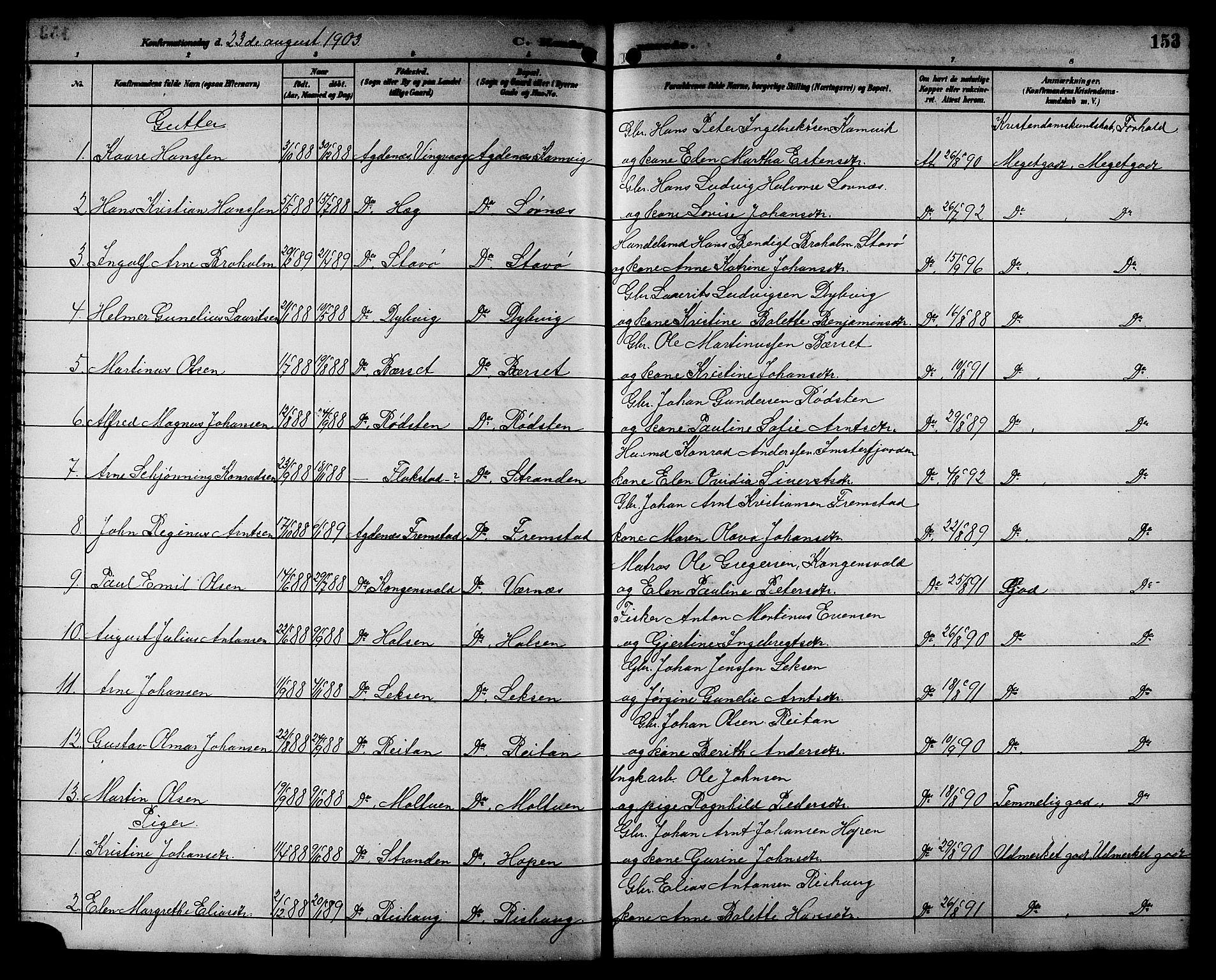 SAT, Ministerialprotokoller, klokkerbøker og fødselsregistre - Sør-Trøndelag, 662/L0757: Klokkerbok nr. 662C02, 1892-1918, s. 153