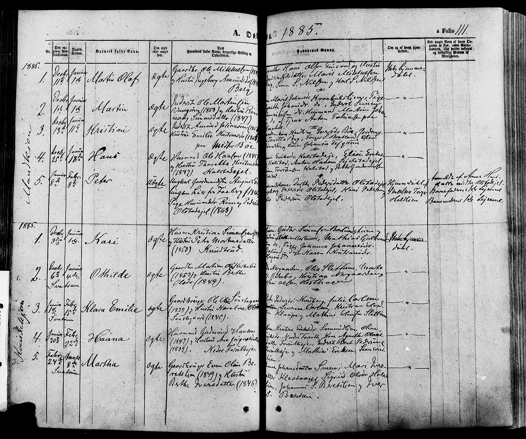 SAH, Gausdal prestekontor, Ministerialbok nr. 10, 1867-1886, s. 111