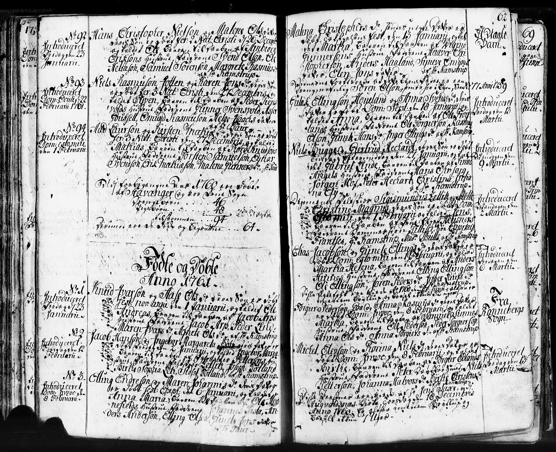 SAST, Domkirken sokneprestkontor, 30/30BB/L0004: Klokkerbok nr. B 4, 1752-1790, s. 62