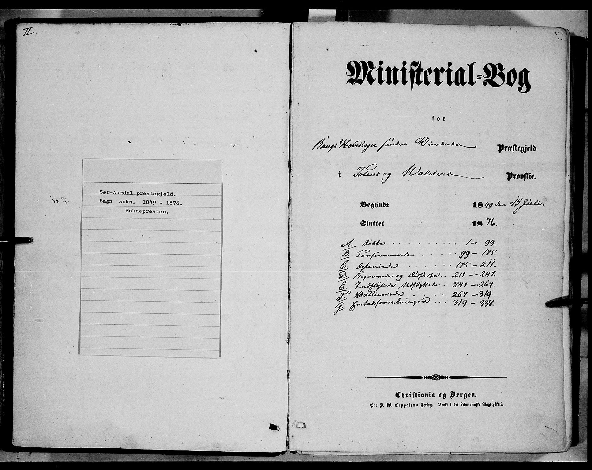 SAH, Sør-Aurdal prestekontor, Ministerialbok nr. 5, 1849-1876