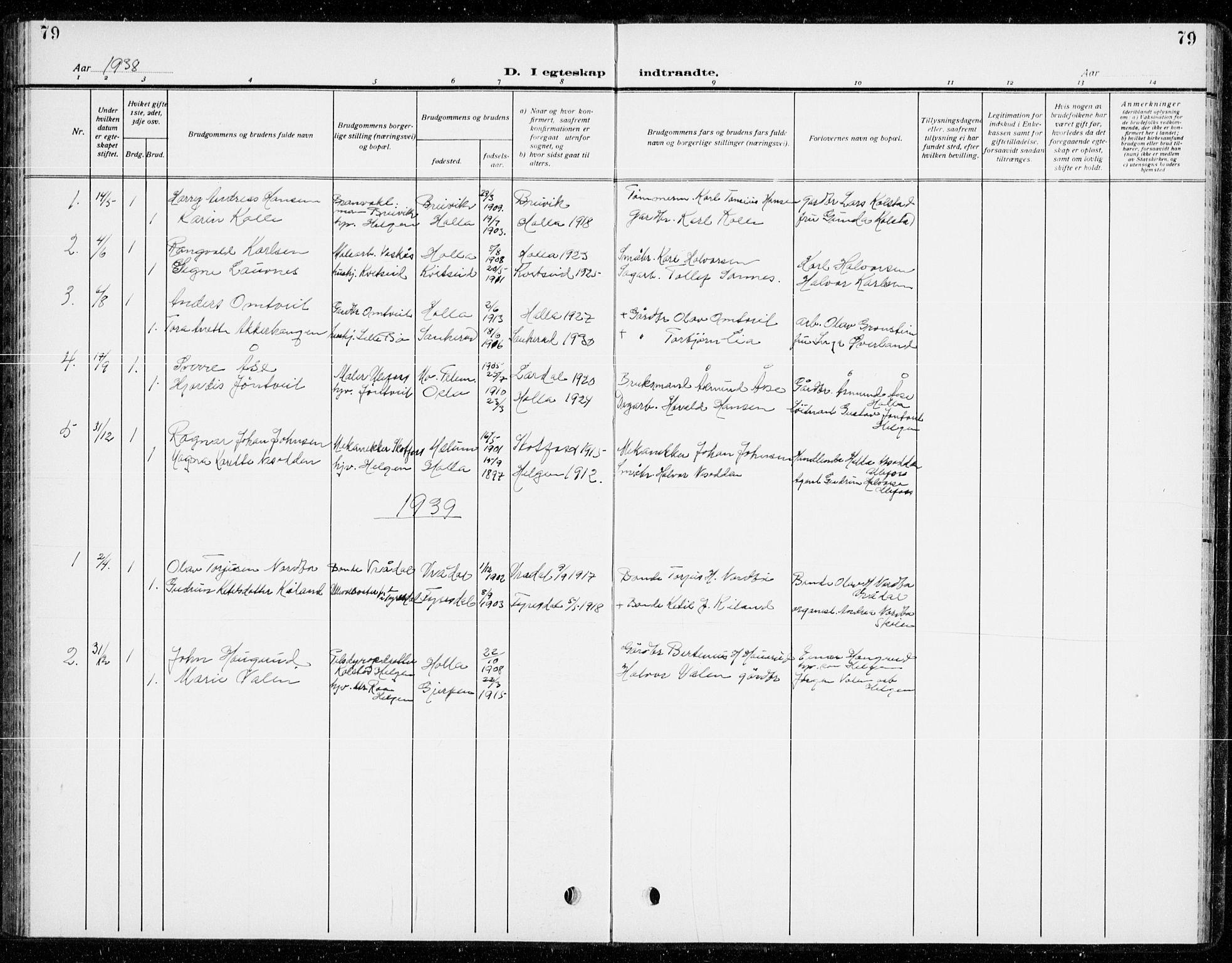 SAKO, Holla kirkebøker, G/Gb/L0003: Klokkerbok nr. II 3, 1914-1941, s. 79