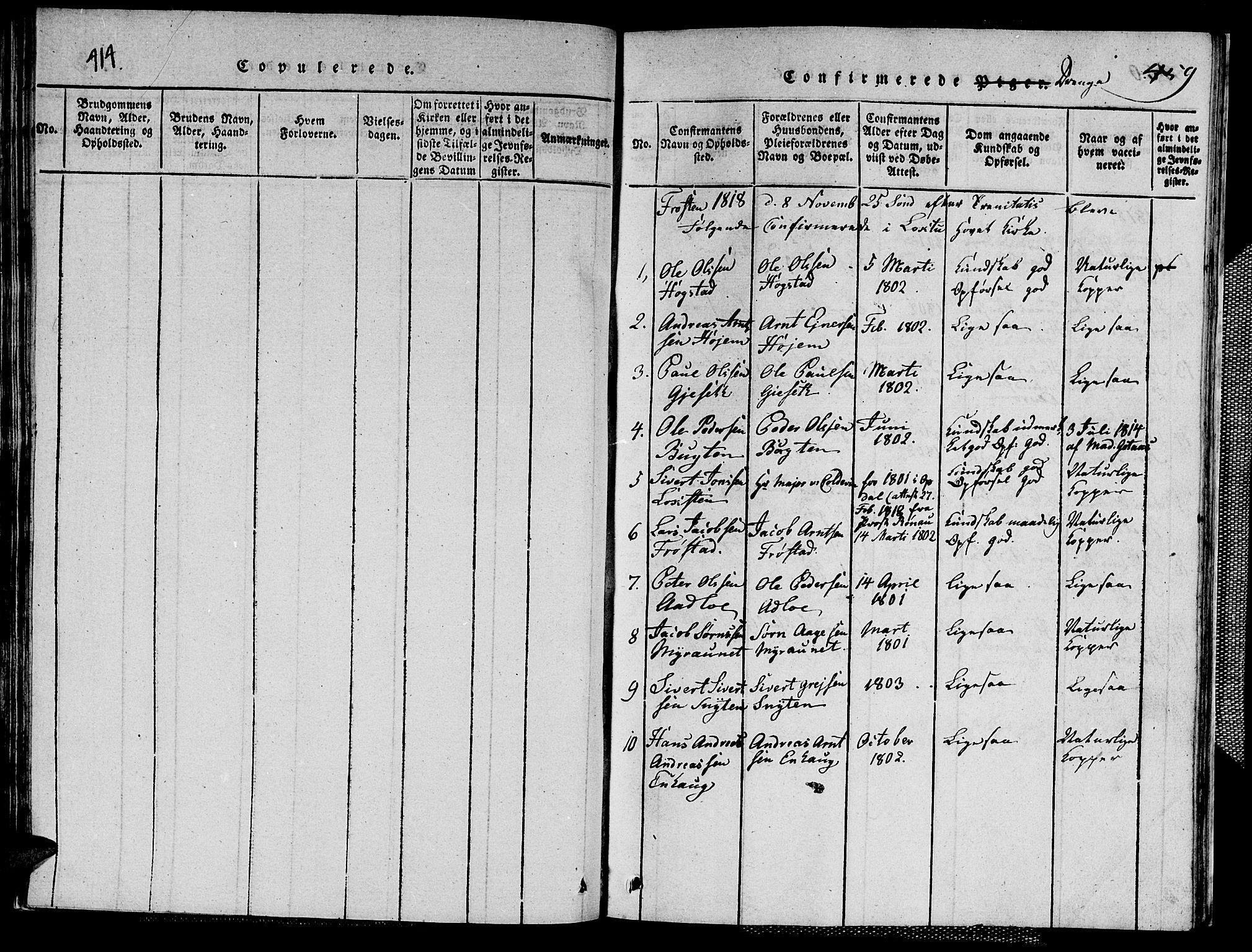 SAT, Ministerialprotokoller, klokkerbøker og fødselsregistre - Nord-Trøndelag, 713/L0124: Klokkerbok nr. 713C01, 1817-1827, s. 414-459