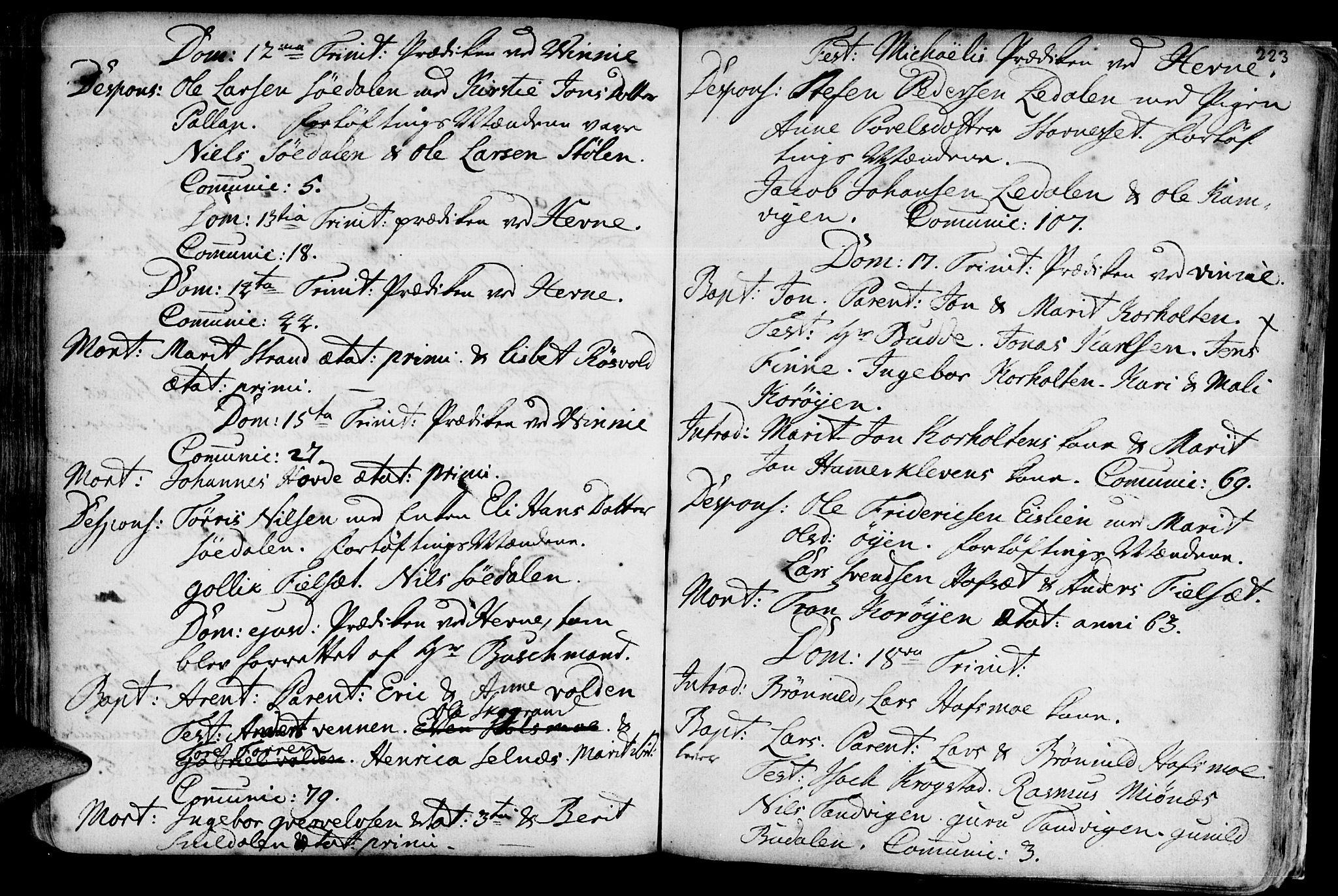 SAT, Ministerialprotokoller, klokkerbøker og fødselsregistre - Sør-Trøndelag, 630/L0488: Ministerialbok nr. 630A01, 1717-1756, s. 222-223