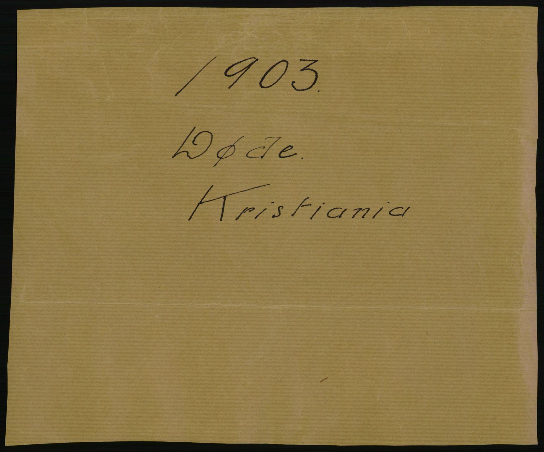 RA, Statistisk sentralbyrå, Sosiodemografiske emner, Befolkning, D/Df/Dfa/Dfaa/L0004: Kristiania: Gifte, døde, 1903