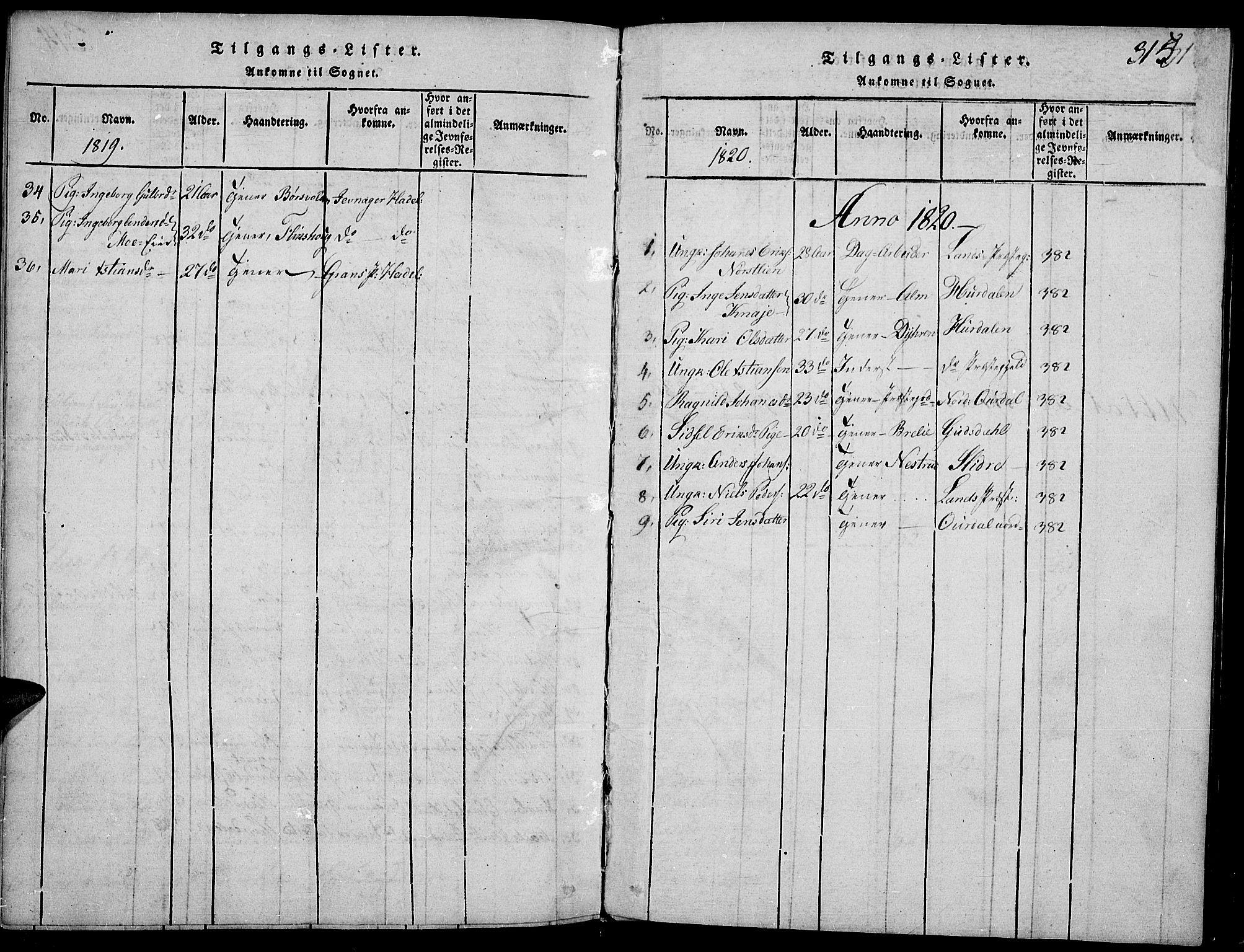 SAH, Toten prestekontor, Ministerialbok nr. 9, 1814-1820, s. 315