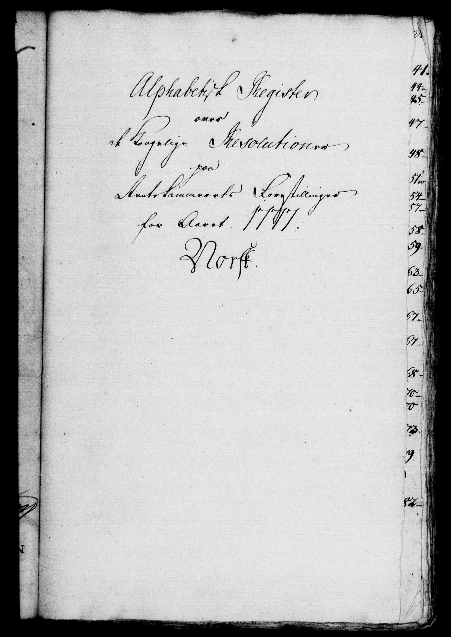 RA, Rentekammeret, Kammerkanselliet, G/Gf/Gfb/L0010: Register til norske relasjons- og resolusjonsprotokoller (merket RK 52.105), 1775-1780, s. 107