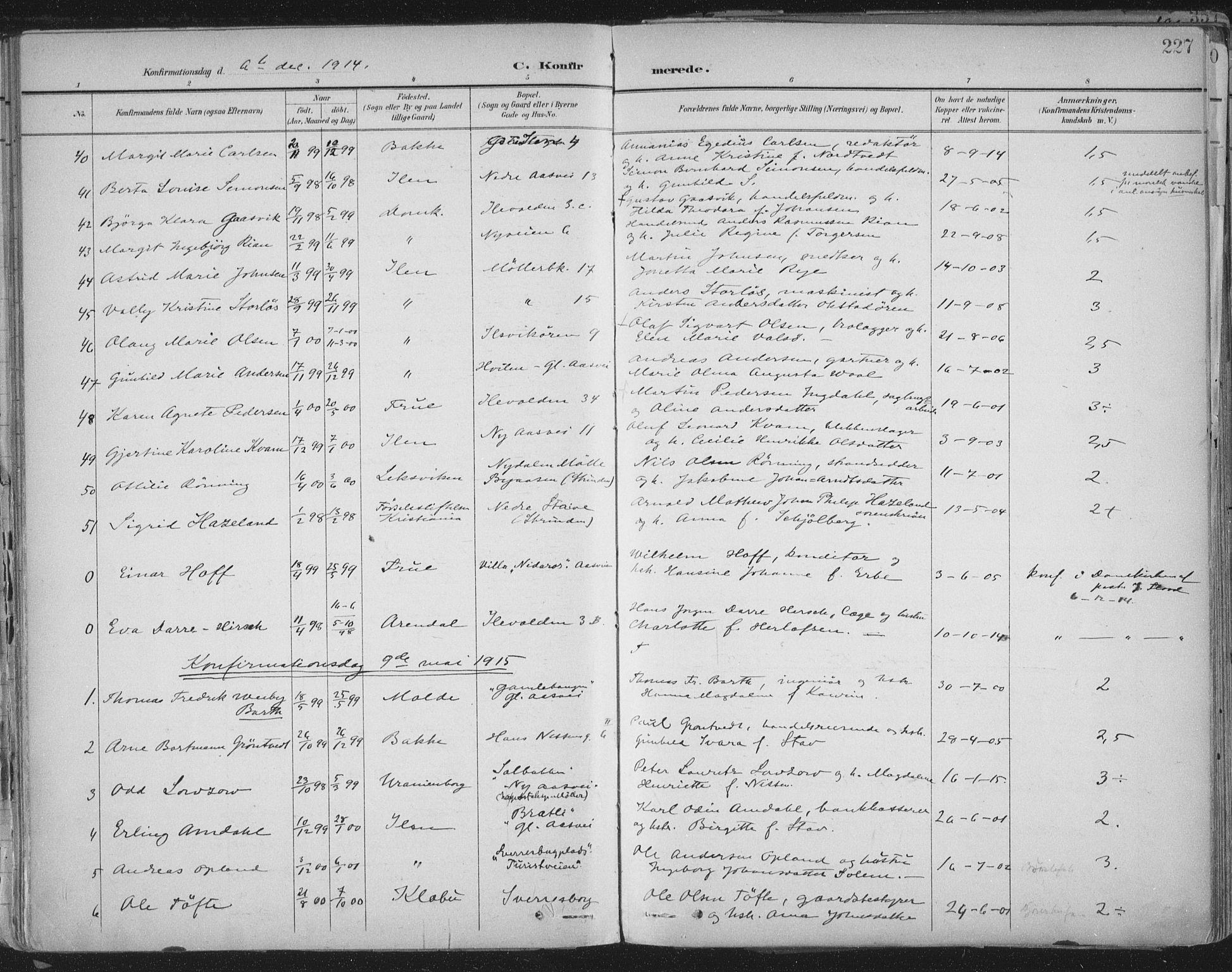 SAT, Ministerialprotokoller, klokkerbøker og fødselsregistre - Sør-Trøndelag, 603/L0167: Ministerialbok nr. 603A06, 1896-1932, s. 227