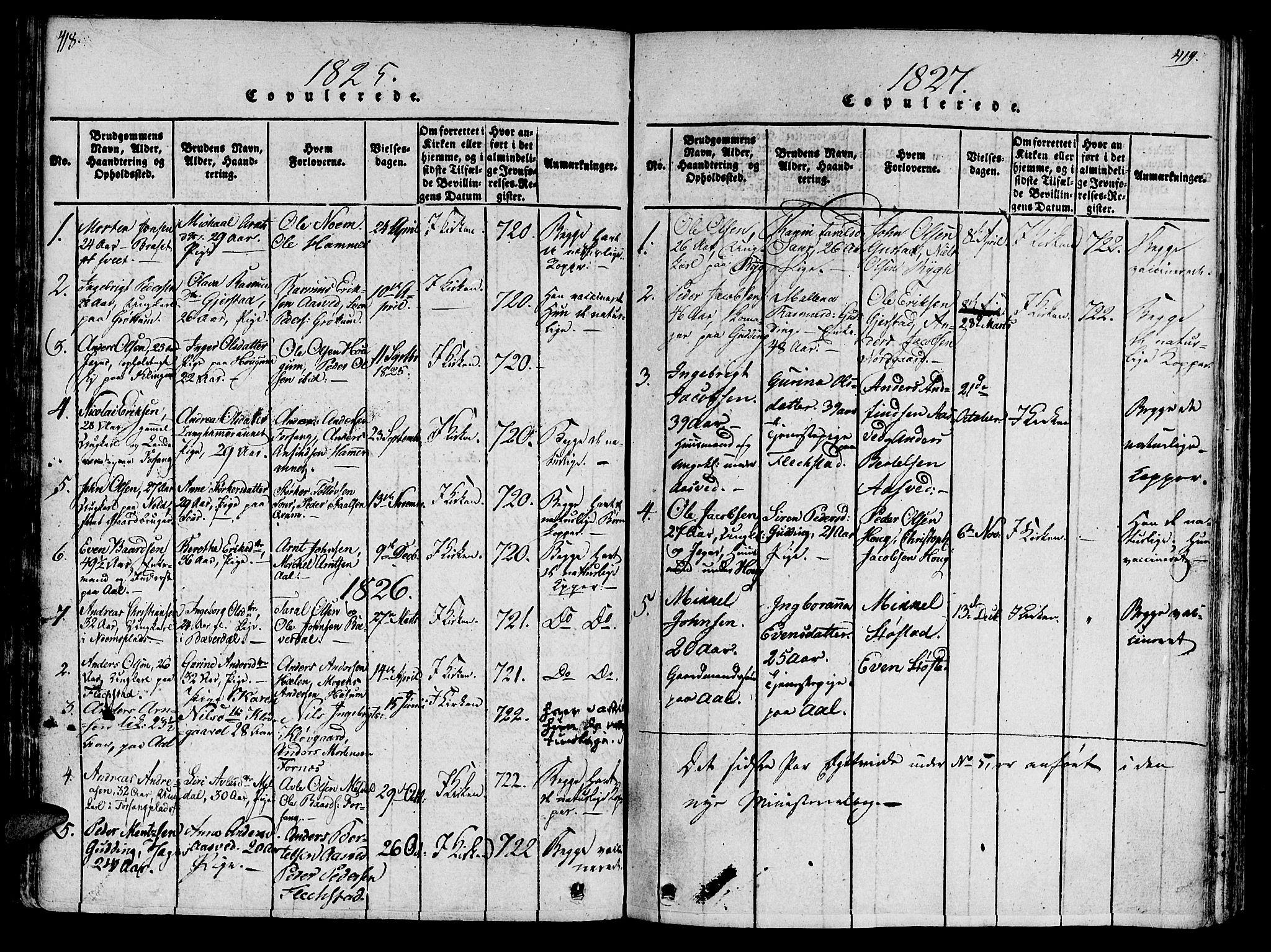 SAT, Ministerialprotokoller, klokkerbøker og fødselsregistre - Nord-Trøndelag, 746/L0441: Ministerialbok nr. 746A03 /2, 1816-1827, s. 418-419