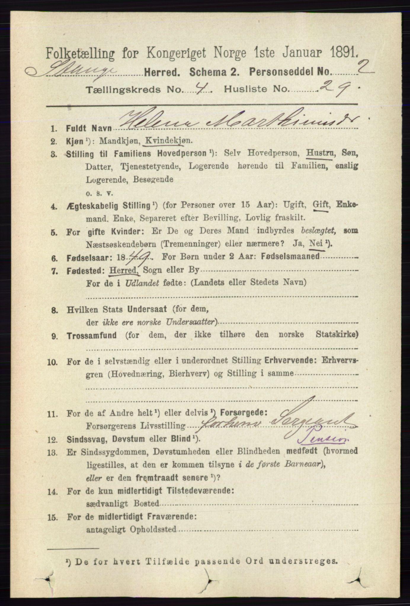 RA, Folketelling 1891 for 0417 Stange herred, 1891, s. 2565