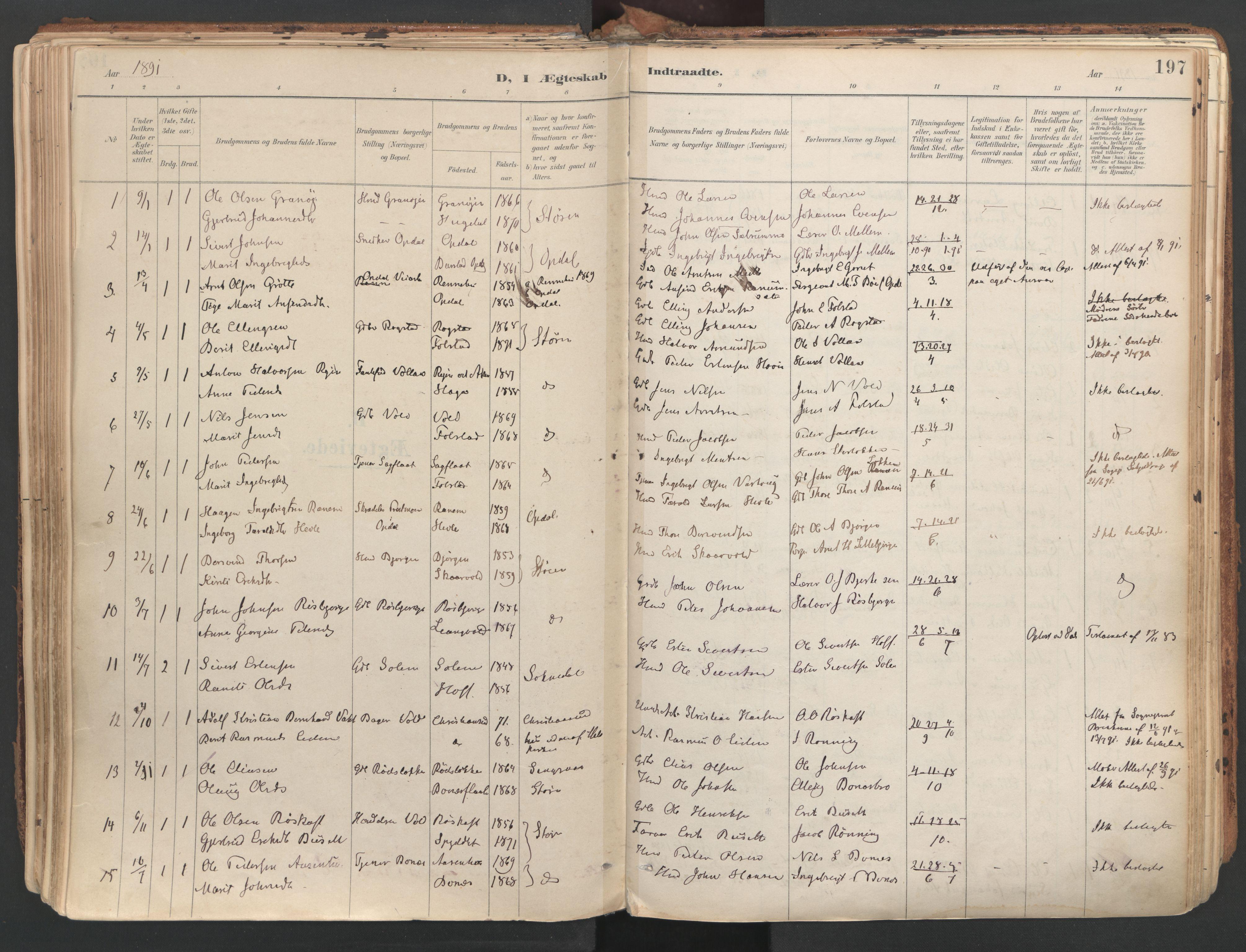 SAT, Ministerialprotokoller, klokkerbøker og fødselsregistre - Sør-Trøndelag, 687/L1004: Ministerialbok nr. 687A10, 1891-1923, s. 197