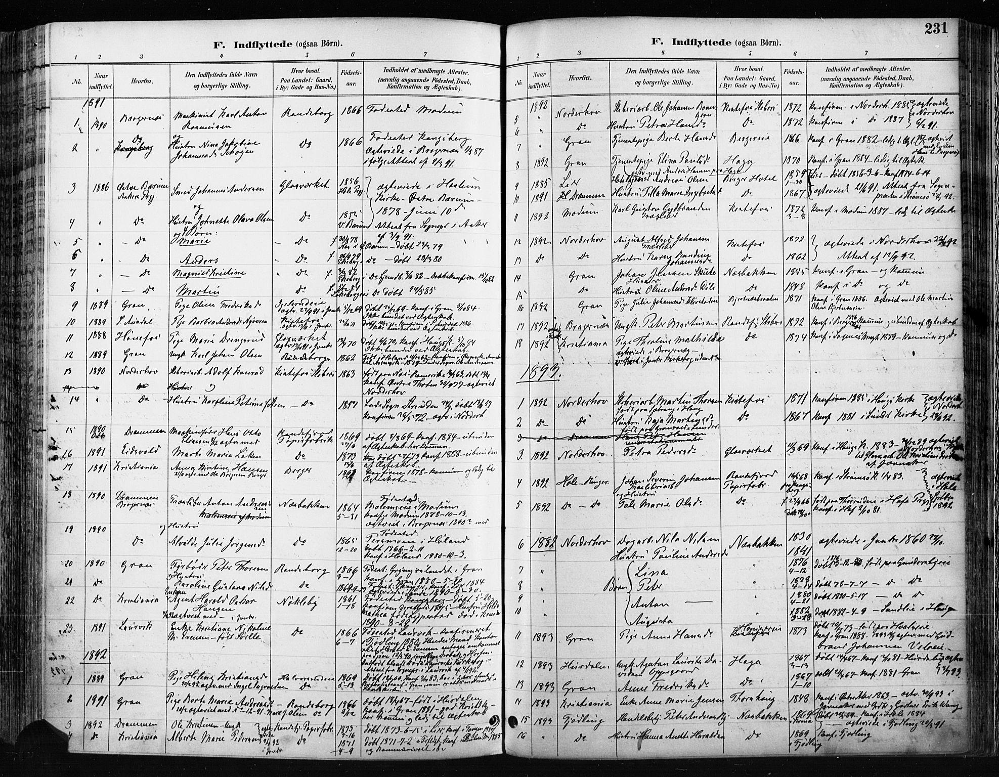 SAH, Jevnaker prestekontor, Ministerialbok nr. 9, 1891-1901, s. 231