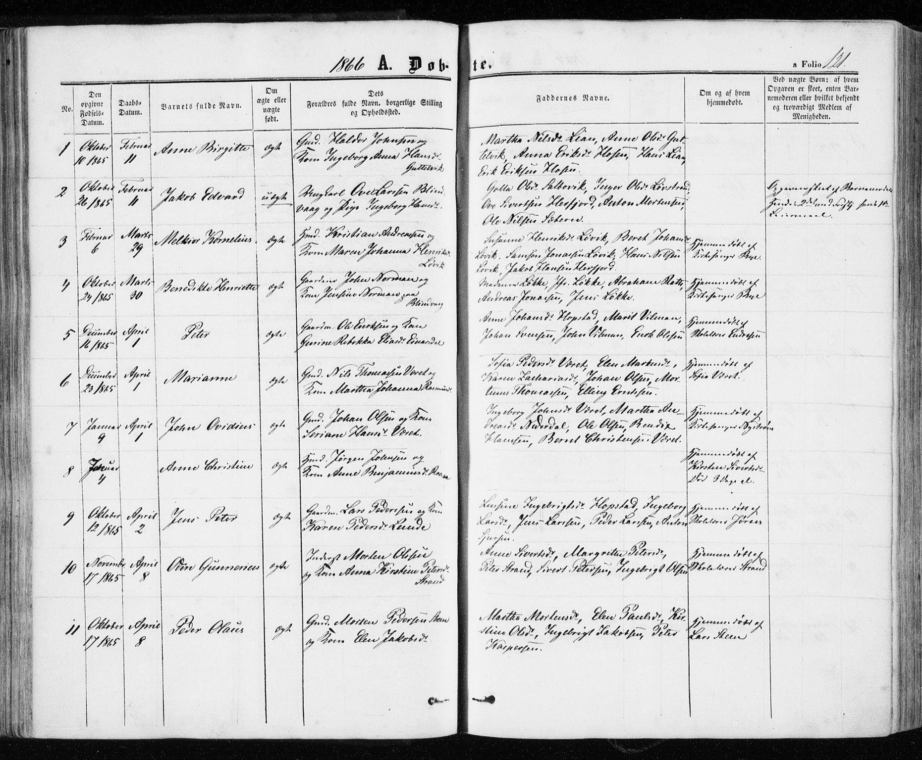 SAT, Ministerialprotokoller, klokkerbøker og fødselsregistre - Sør-Trøndelag, 657/L0705: Ministerialbok nr. 657A06, 1858-1867, s. 121