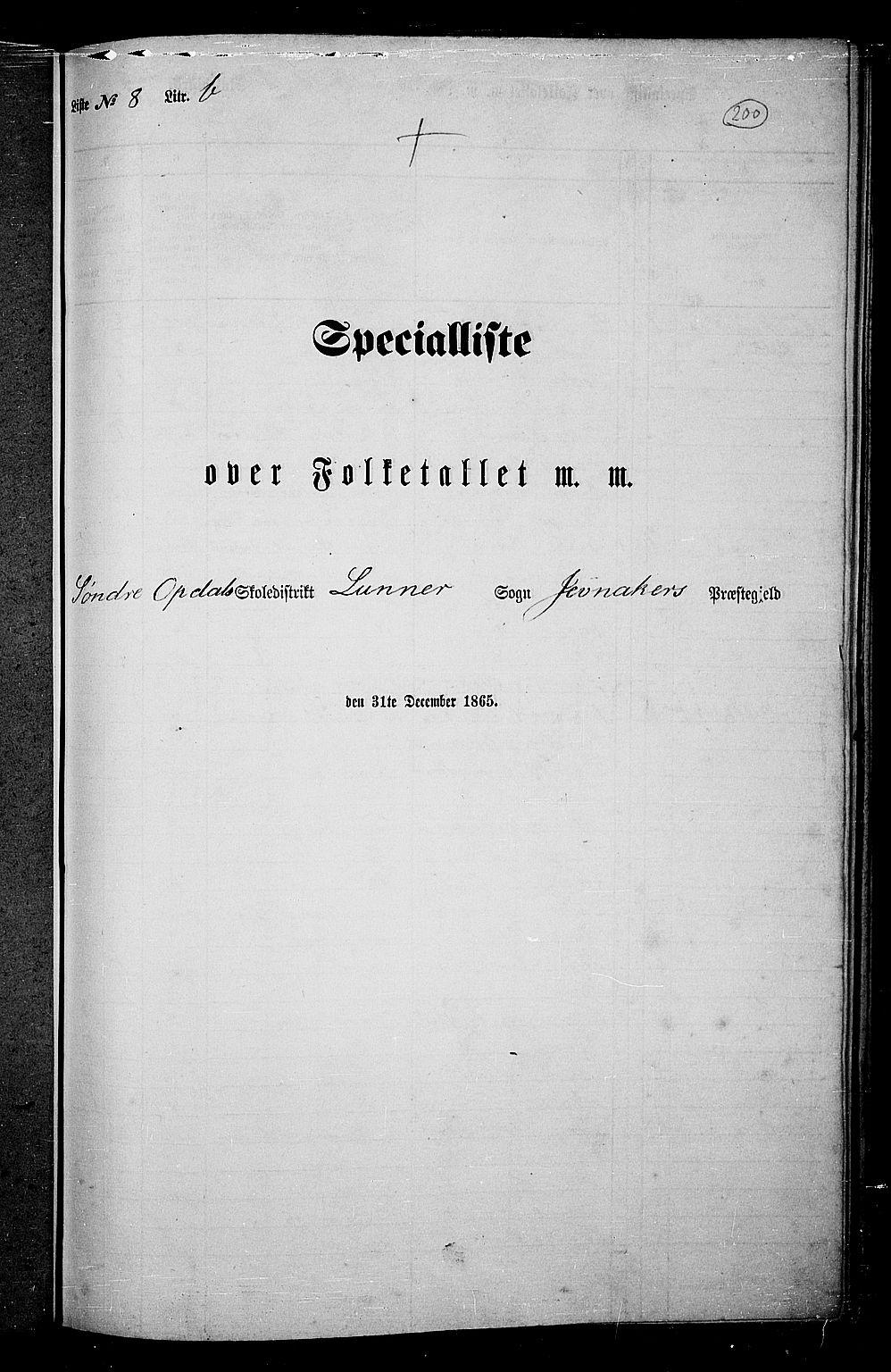 RA, Folketelling 1865 for 0532P Jevnaker prestegjeld, 1865, s. 184