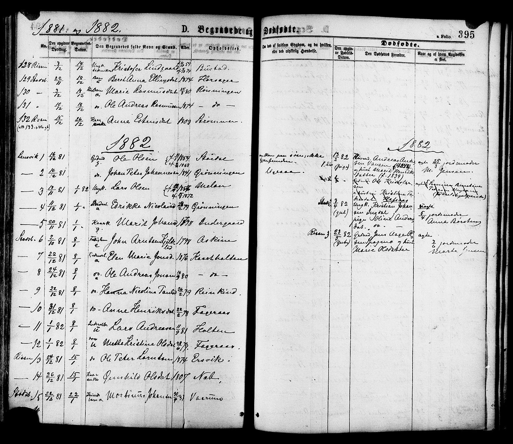 SAT, Ministerialprotokoller, klokkerbøker og fødselsregistre - Sør-Trøndelag, 646/L0613: Ministerialbok nr. 646A11, 1870-1884, s. 395