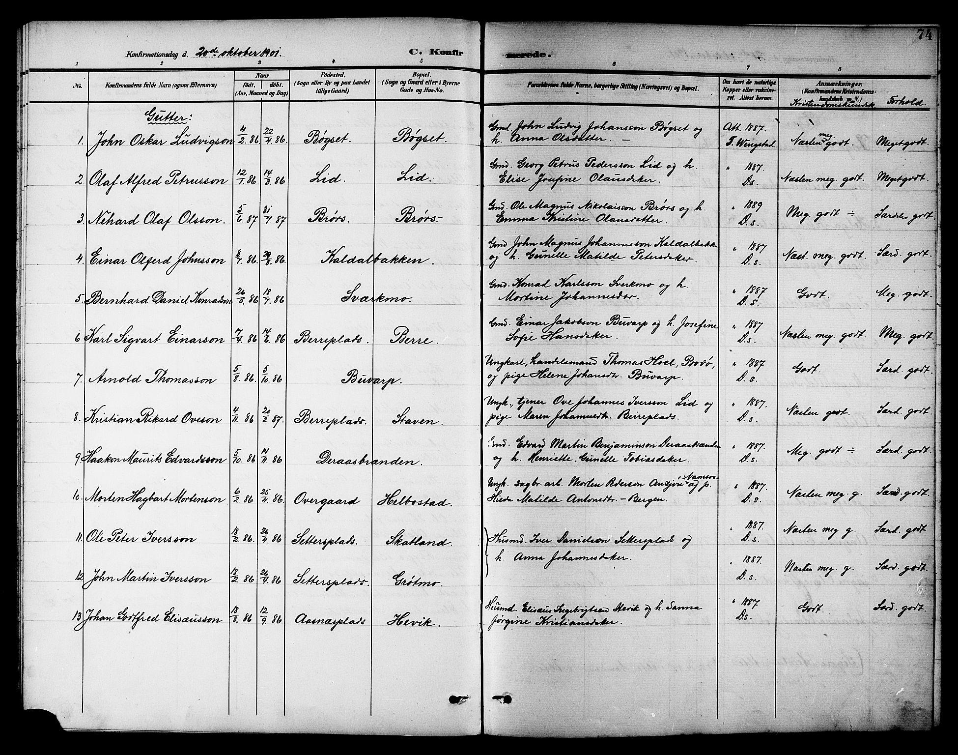 SAT, Ministerialprotokoller, klokkerbøker og fødselsregistre - Nord-Trøndelag, 742/L0412: Klokkerbok nr. 742C03, 1898-1910, s. 74