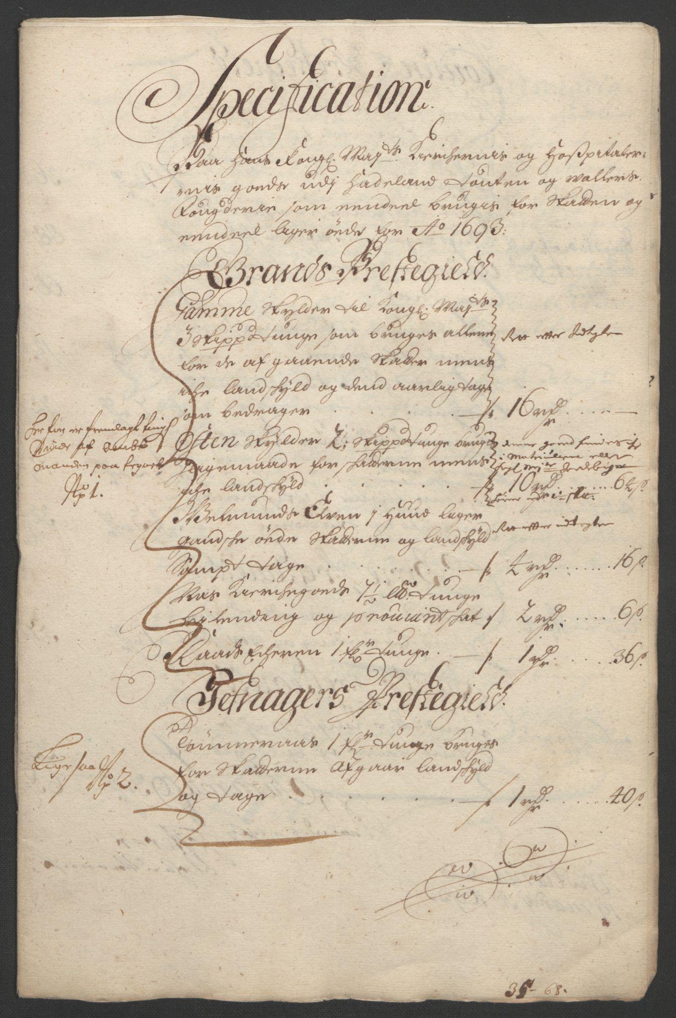 RA, Rentekammeret inntil 1814, Reviderte regnskaper, Fogderegnskap, R18/L1292: Fogderegnskap Hadeland, Toten og Valdres, 1693-1694, s. 169