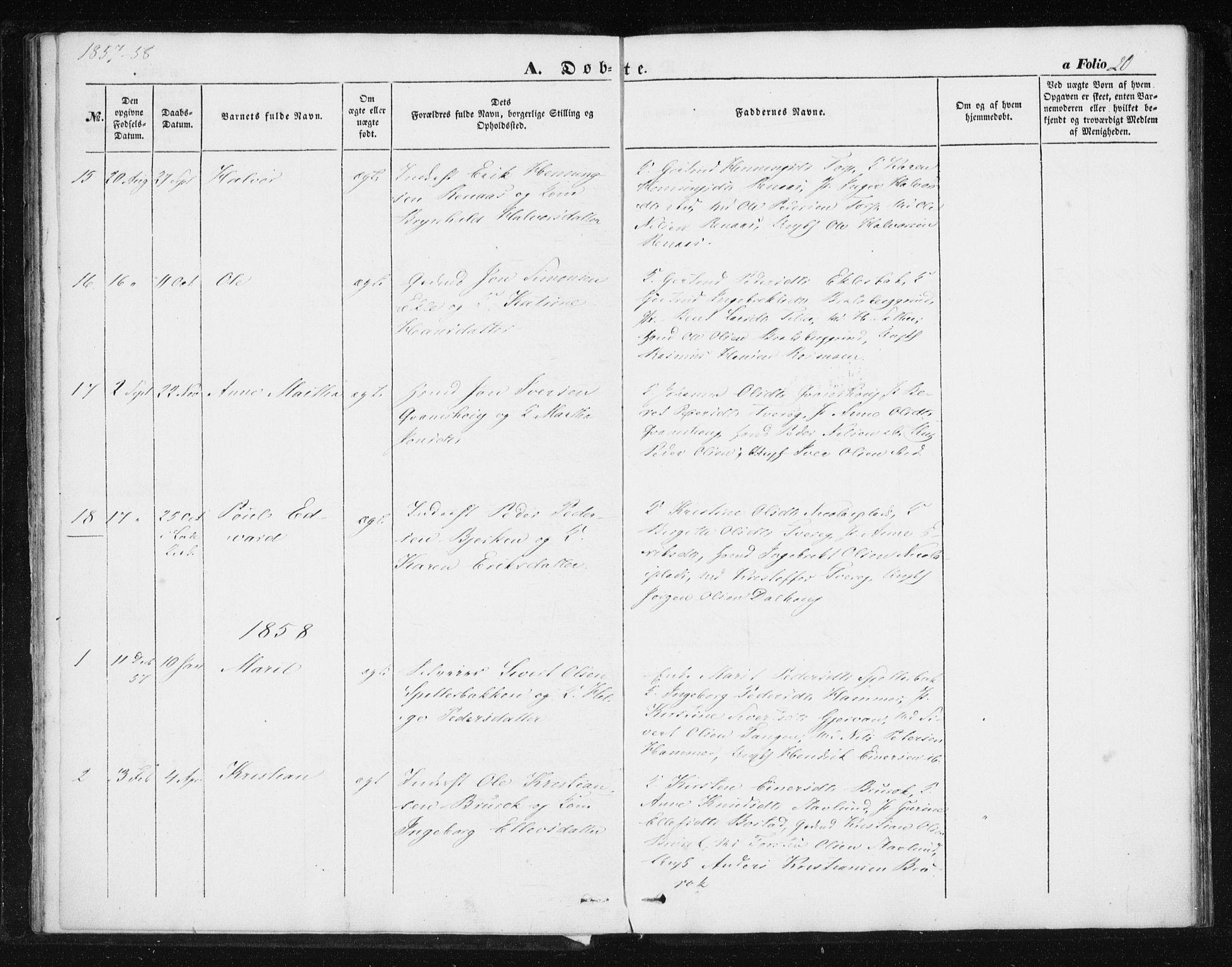 SAT, Ministerialprotokoller, klokkerbøker og fødselsregistre - Sør-Trøndelag, 608/L0332: Ministerialbok nr. 608A01, 1848-1861, s. 20